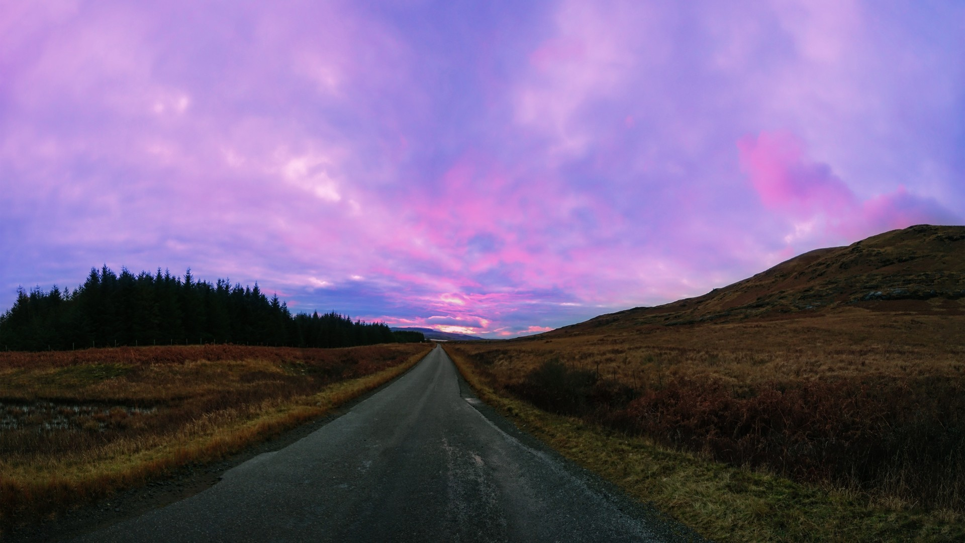 Download now full hd wallpaper highway pink sky Iceland in screen  resolution 1920×1080.