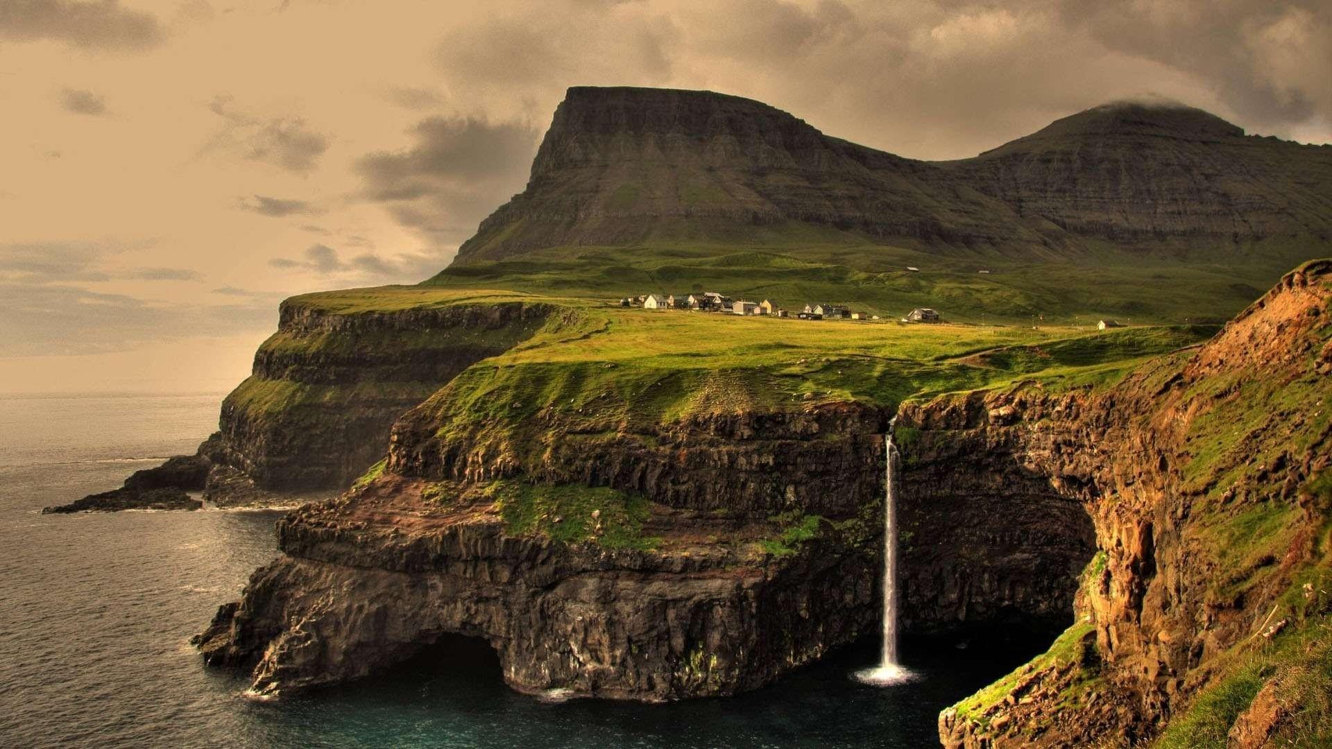mountains ocean landscapes cliffs islands iceland waterfalls virtual  icelandic celtic feroe islands Wallpaper HD