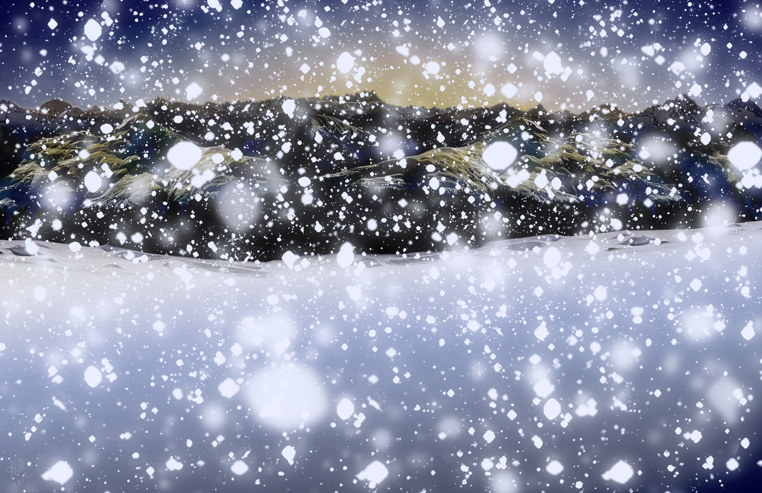 Snow Scene Blue Snowy Day Night Evening Mountain Desktop Wallpaper .