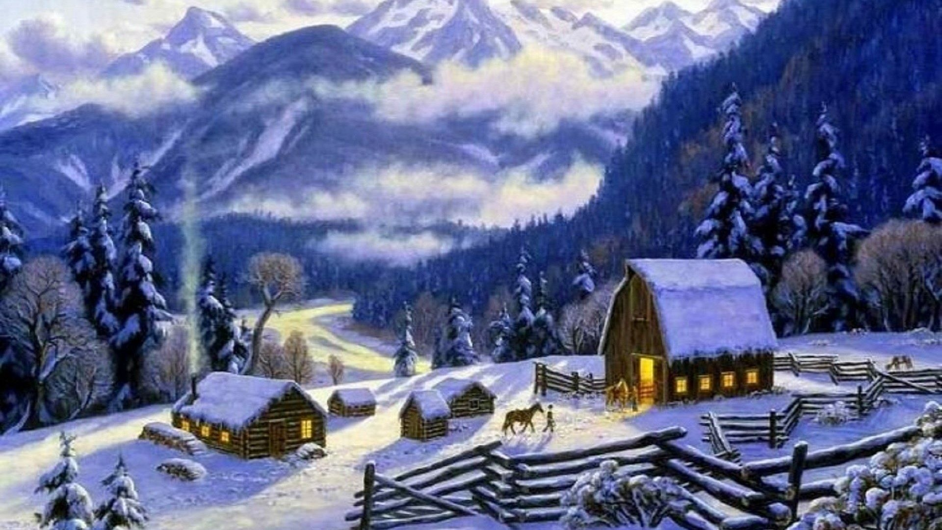 Villages Tag – Villages Xmas Greetings Love Snow Cottages Seasons Trees New  Year Landscapes Valley Attractions