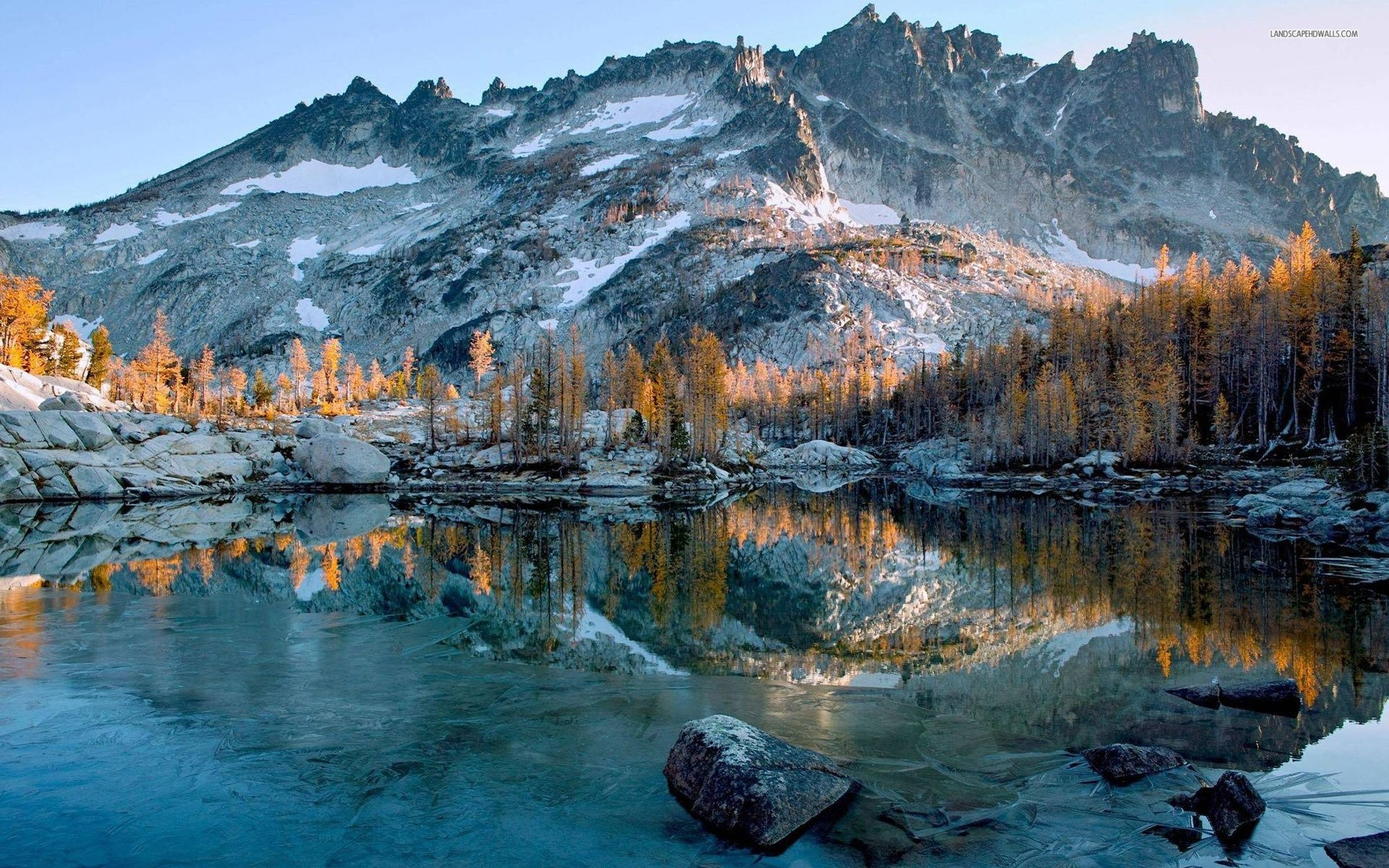 affordable frozen lake in the winter morning wallpaper with winter trees  wallpaper.