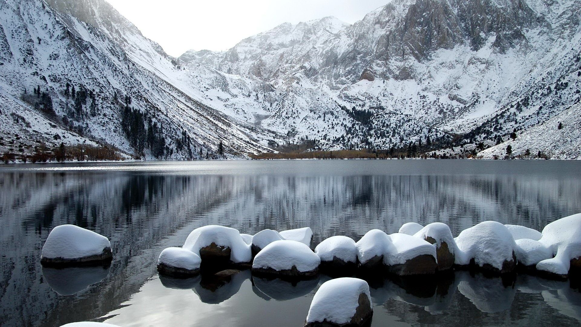 Snow Tag – Calm Frozen River Winter Pretty Nice Mirrored Snow Mountain Lake  Ice Icy Lovely