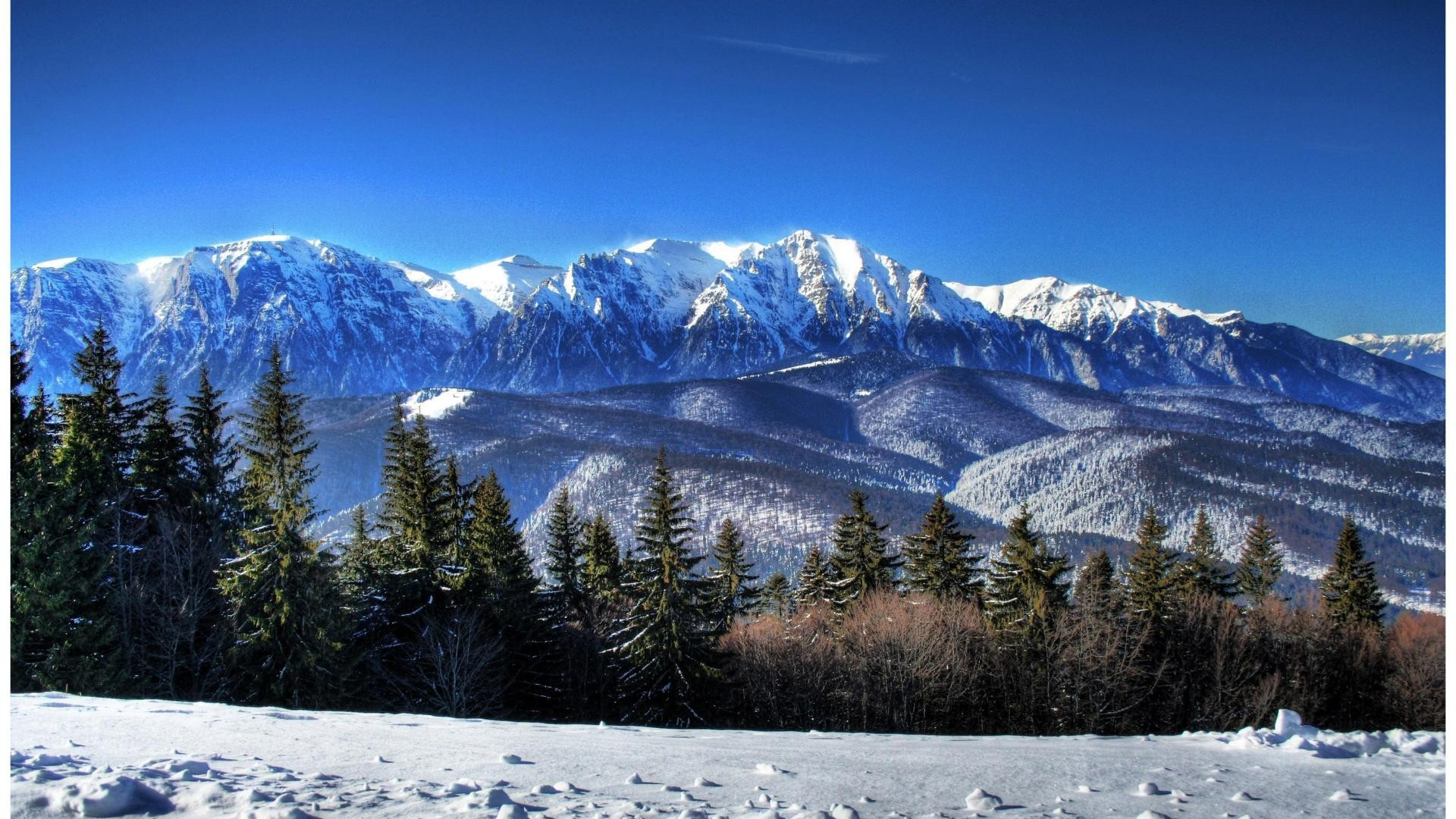 Winter Tag – Mountains Winter Scene Cold Sky Beautiful Mountain Forests Snow  Desktop Wallpaper for HD
