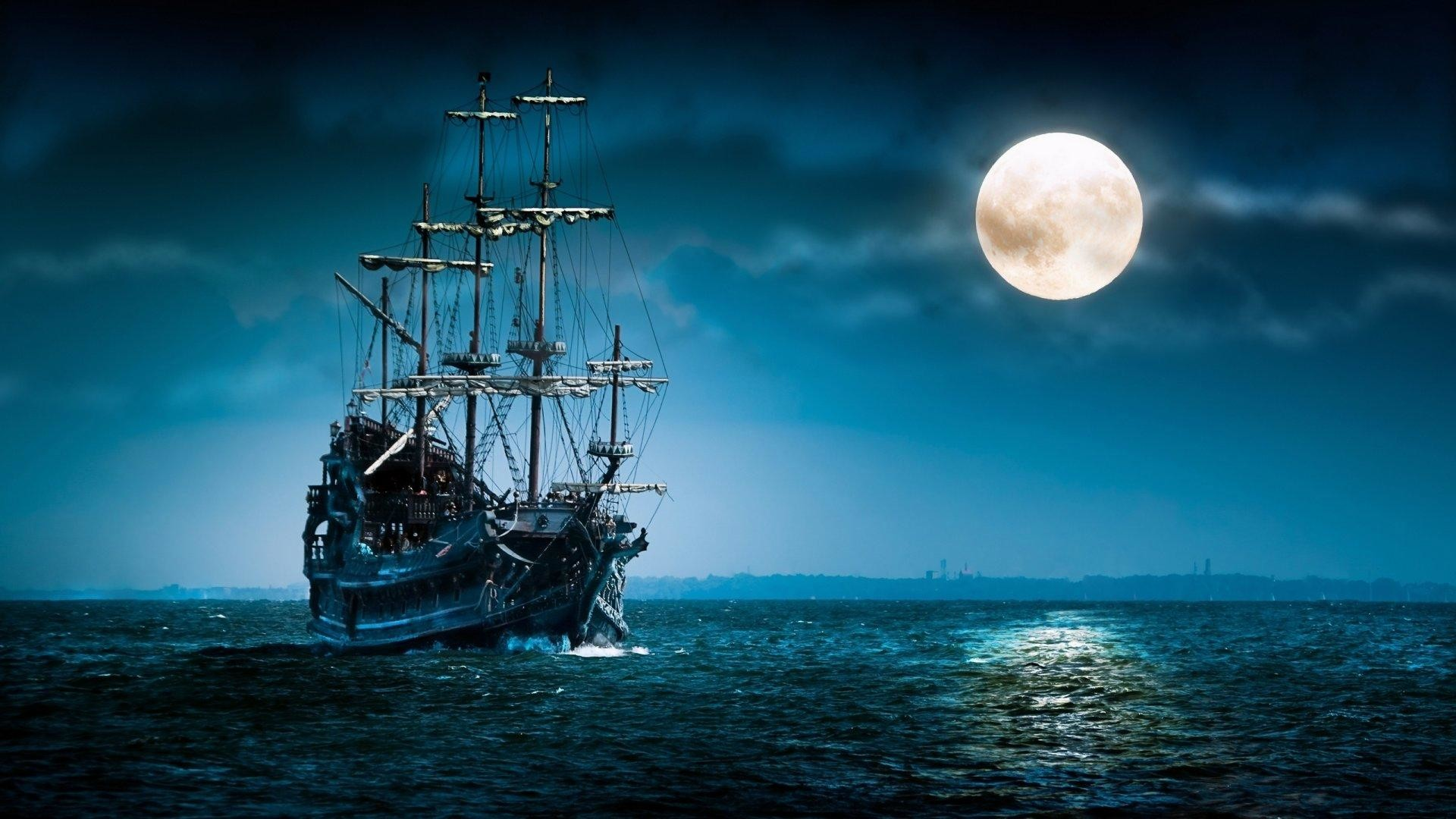 Sailboat-sea-moon-ship-boat-ocean-night-mood-