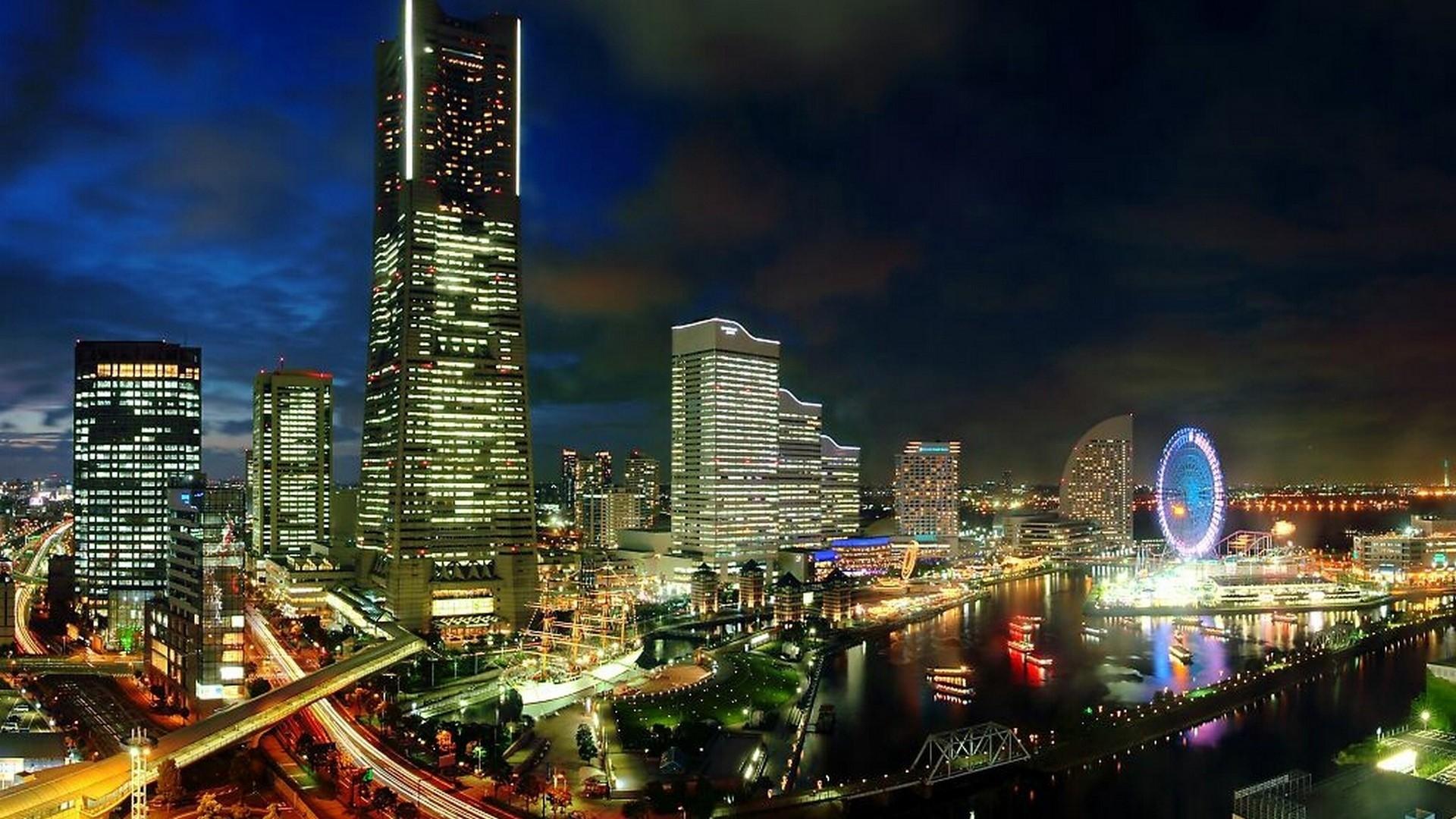 Preview wallpaper japan, yokohama, evening, metropolis, development, city  lights 1920×1080