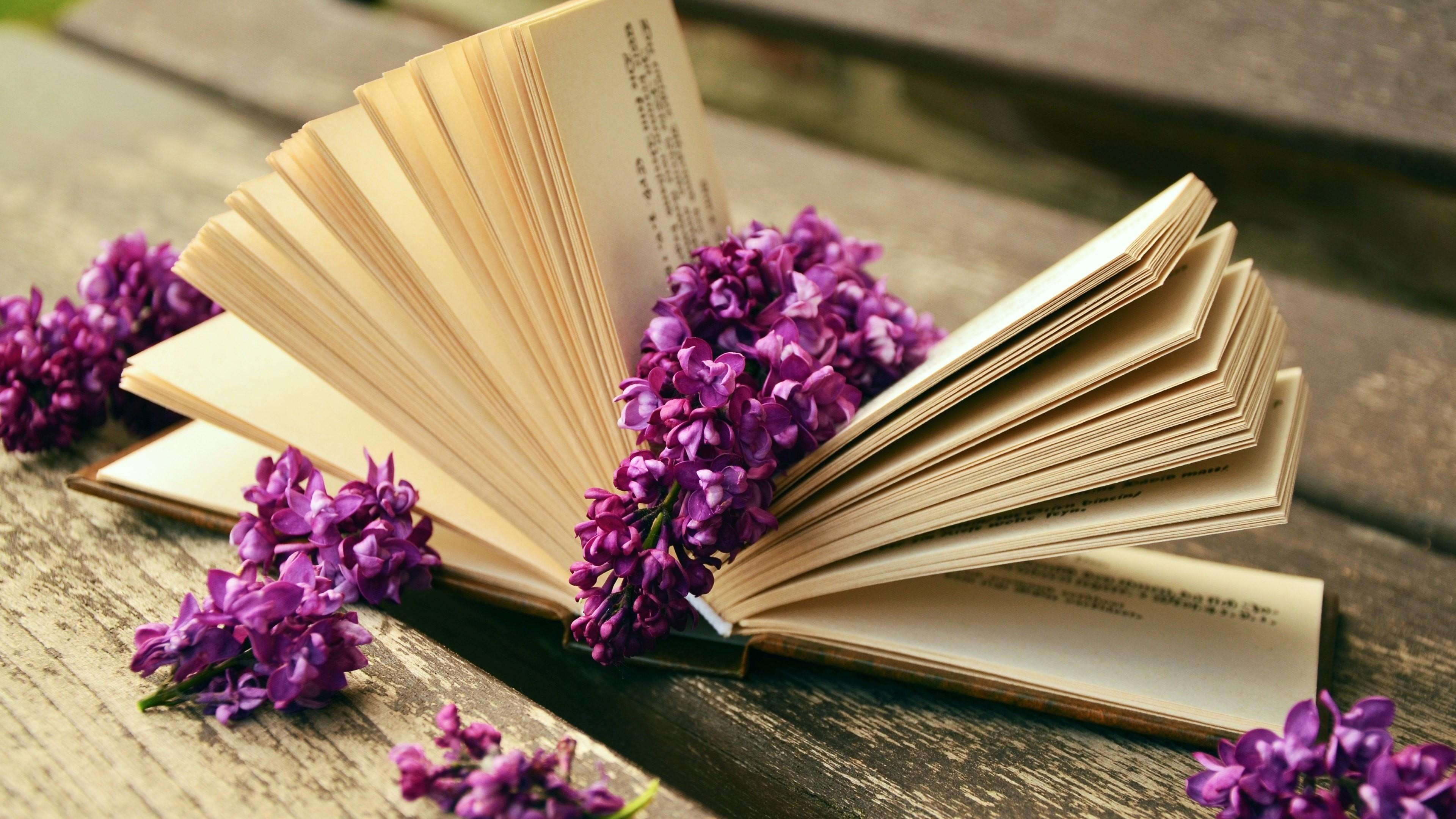 Man Made – Book Lilac Flower Still Life Wallpaper