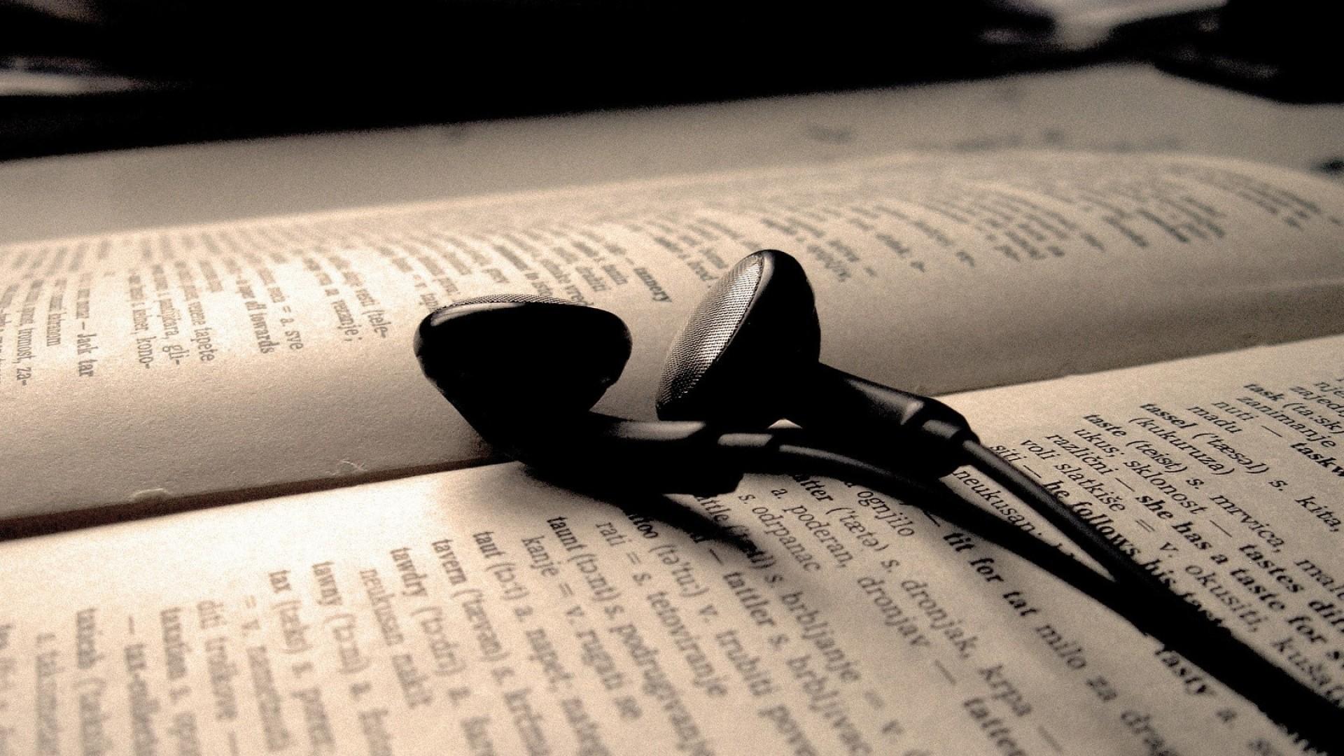 Wallpaper headphones, wire, book, letters, words