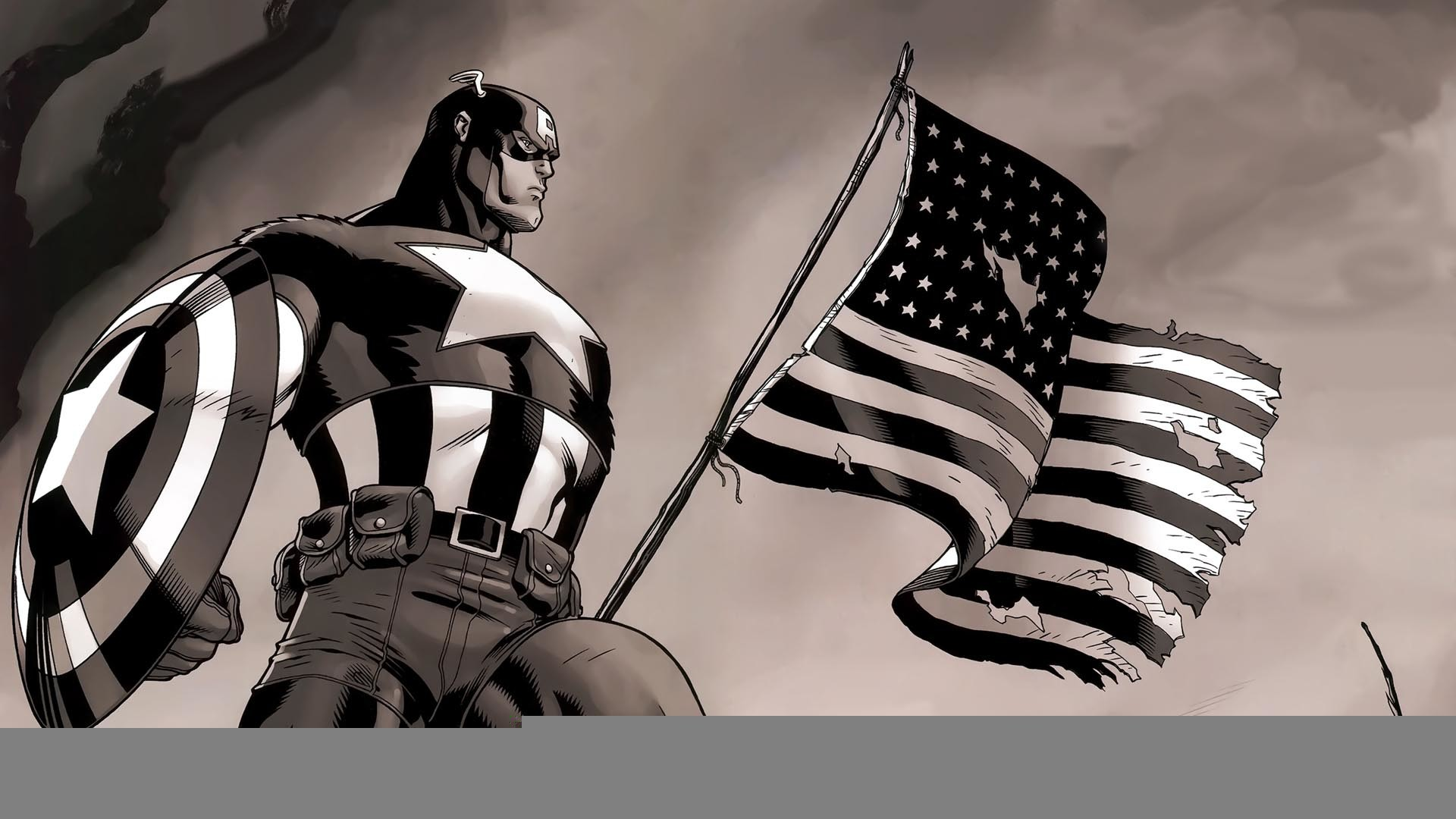 Captain America with American Flag HD Wallpaper in Full HD from the Comics  category.