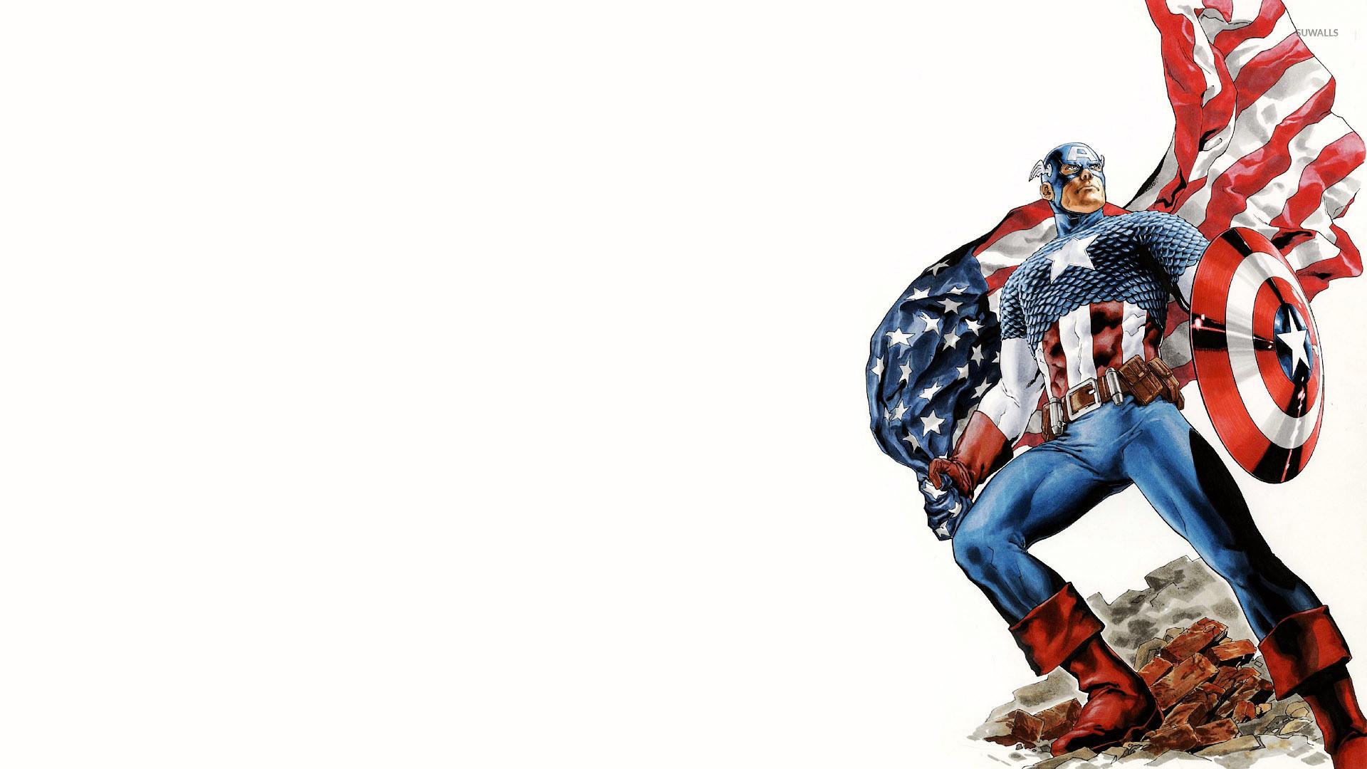 Captain America holding the American flag wallpaper