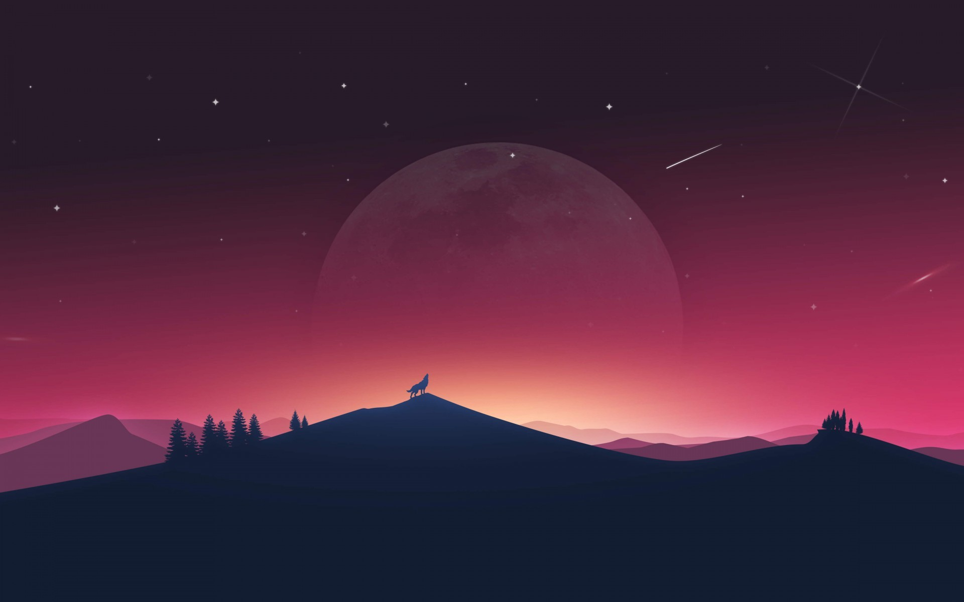 Wolf Howling Moon Night HD Wallpaper