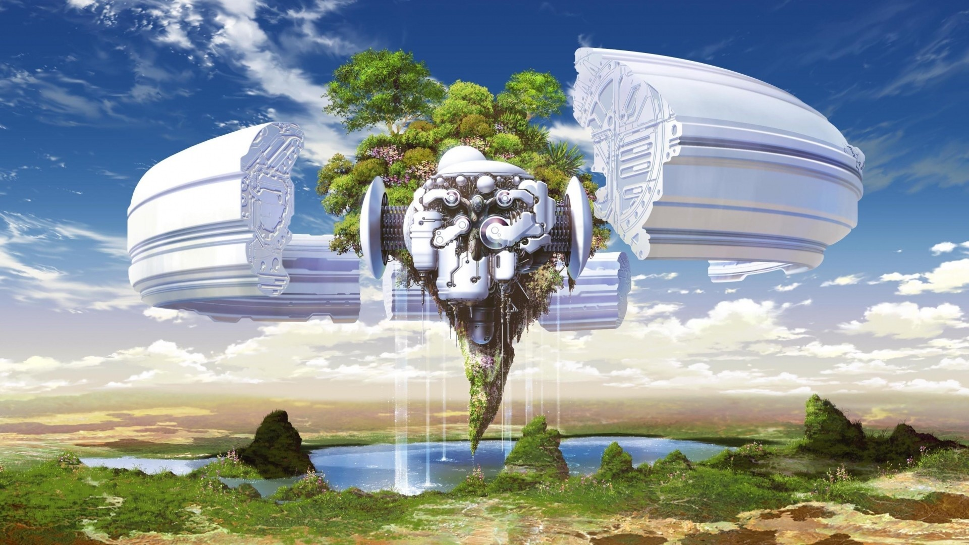 Download Wallpaper Trees, Land, Piece, Weightlessness, Mechanism,  Sky, Water