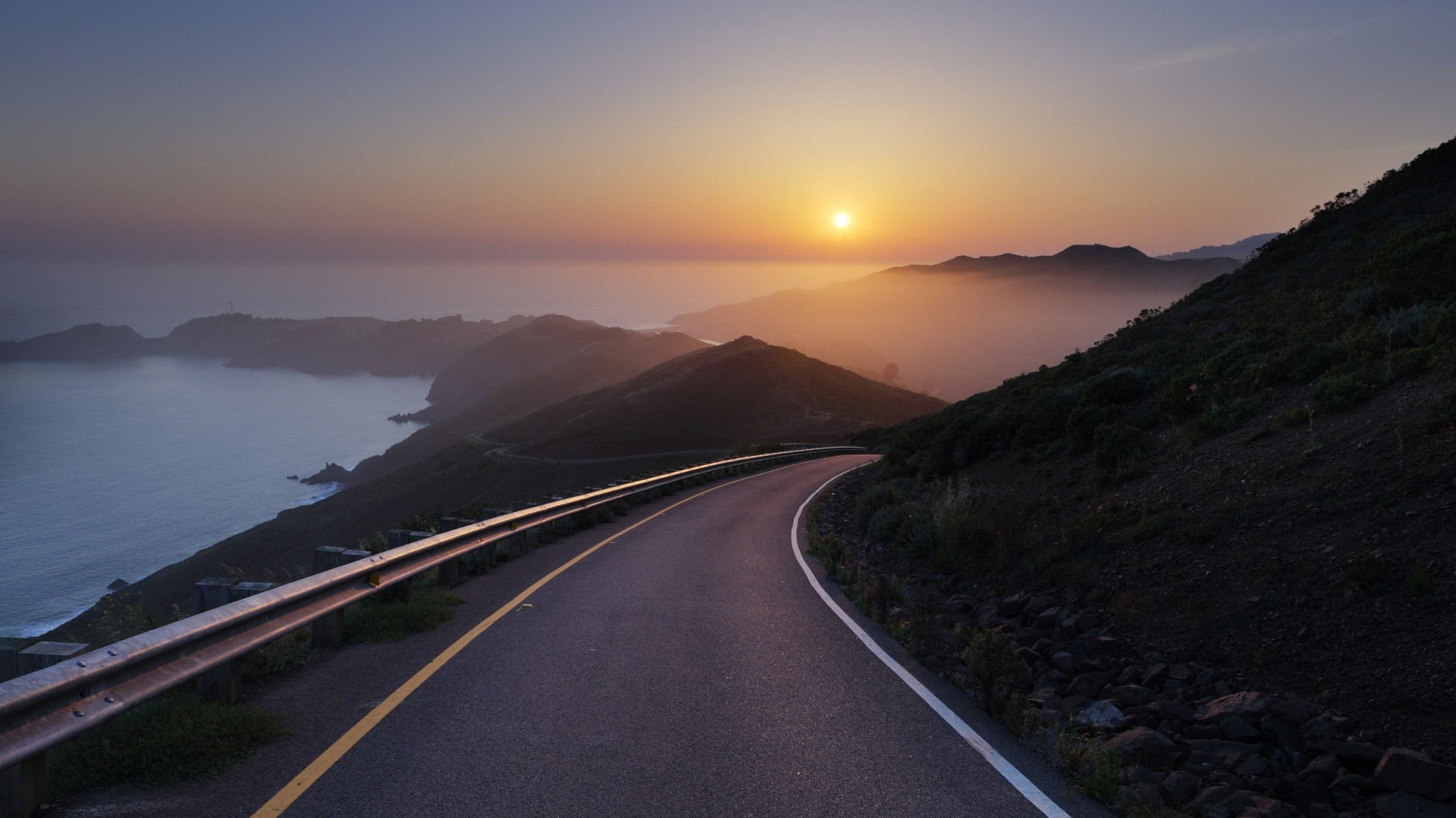 … Background Full HD 1080p. Wallpaper conzelman road, sunset,  turning road, sea
