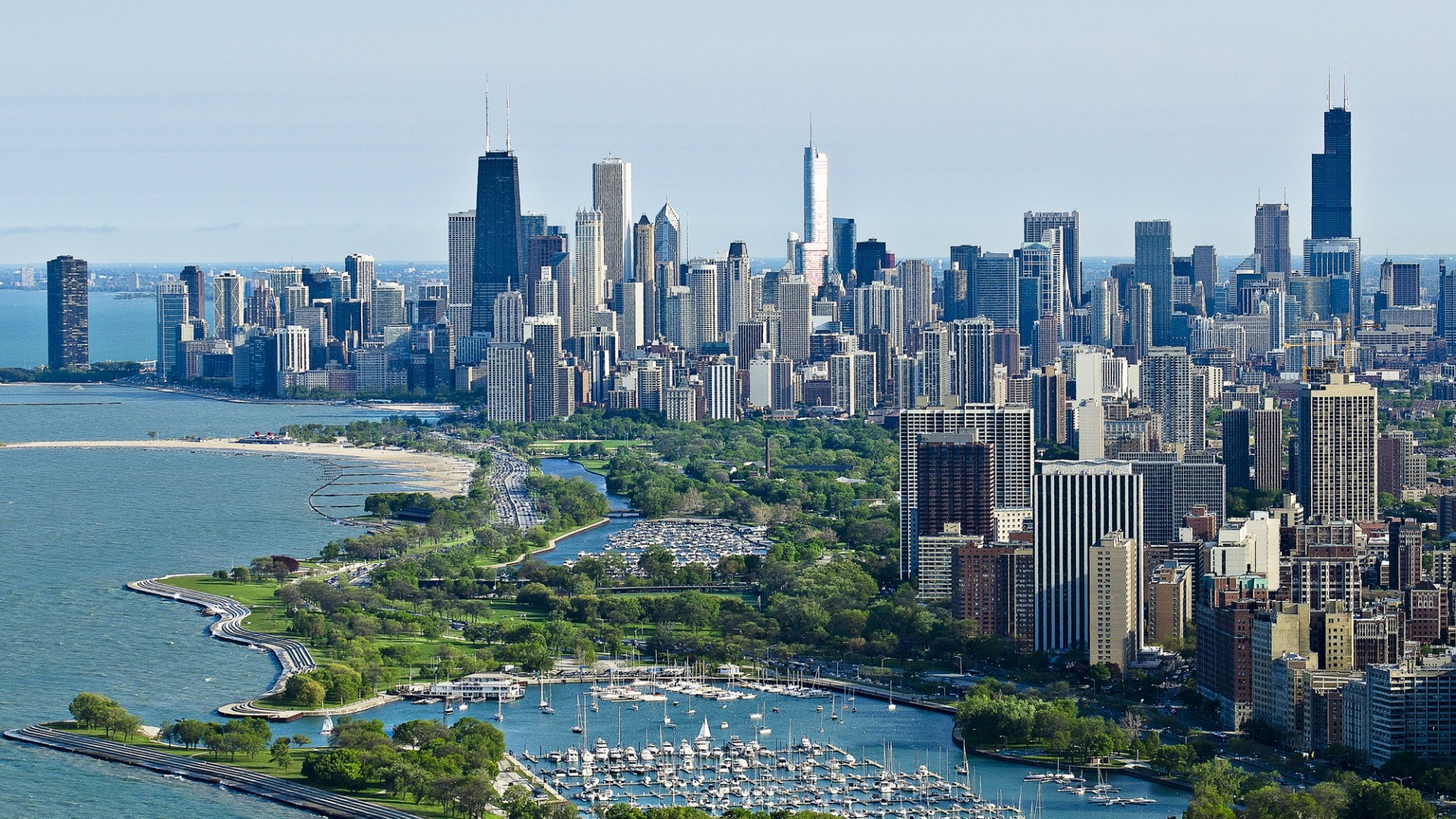 … Background Full HD 1080p. Wallpaper chicago, skyscrapers, top  view, ocean