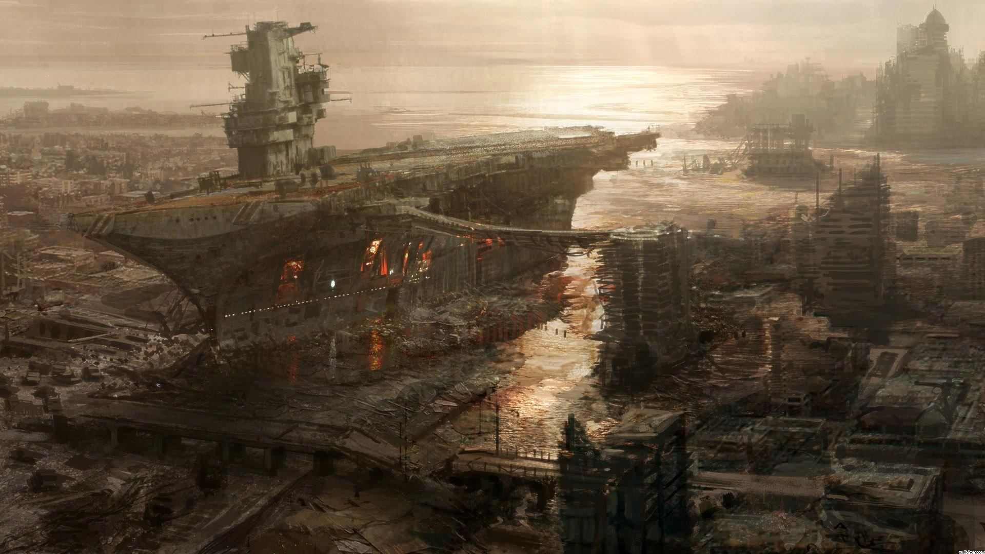 Google Image Result for  https://www.wallchan.com/images/sandbox/1305768331-ship-carrier-fallout-sea-boat- apocalypse-rivet-city-wallpaper.jpg | Pinterest …