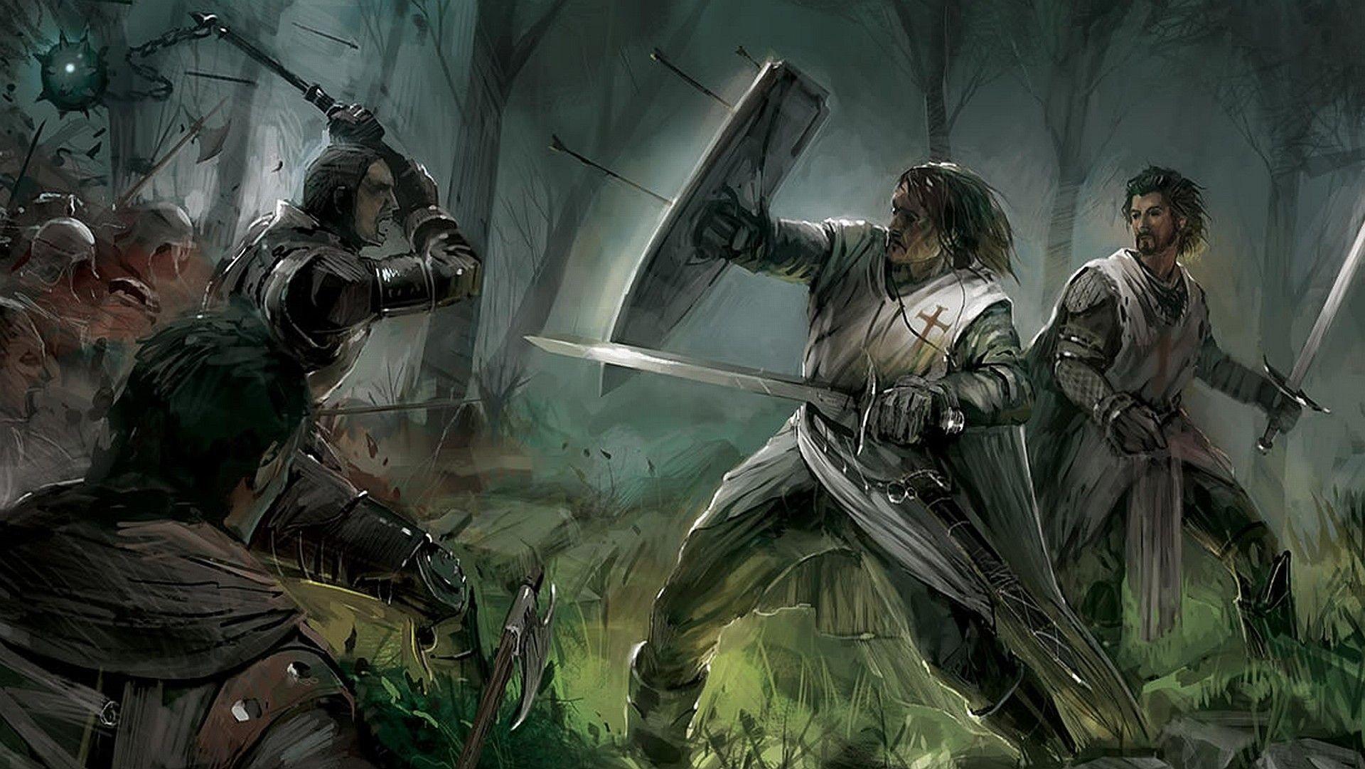 fight, knights, warriors, Templars, medieval :: Wallpapers