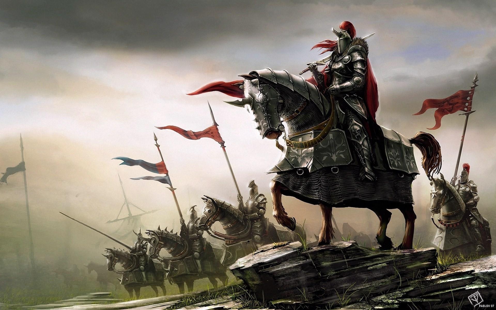 Fantasy – Knight – Horse – Battle Wallpaper