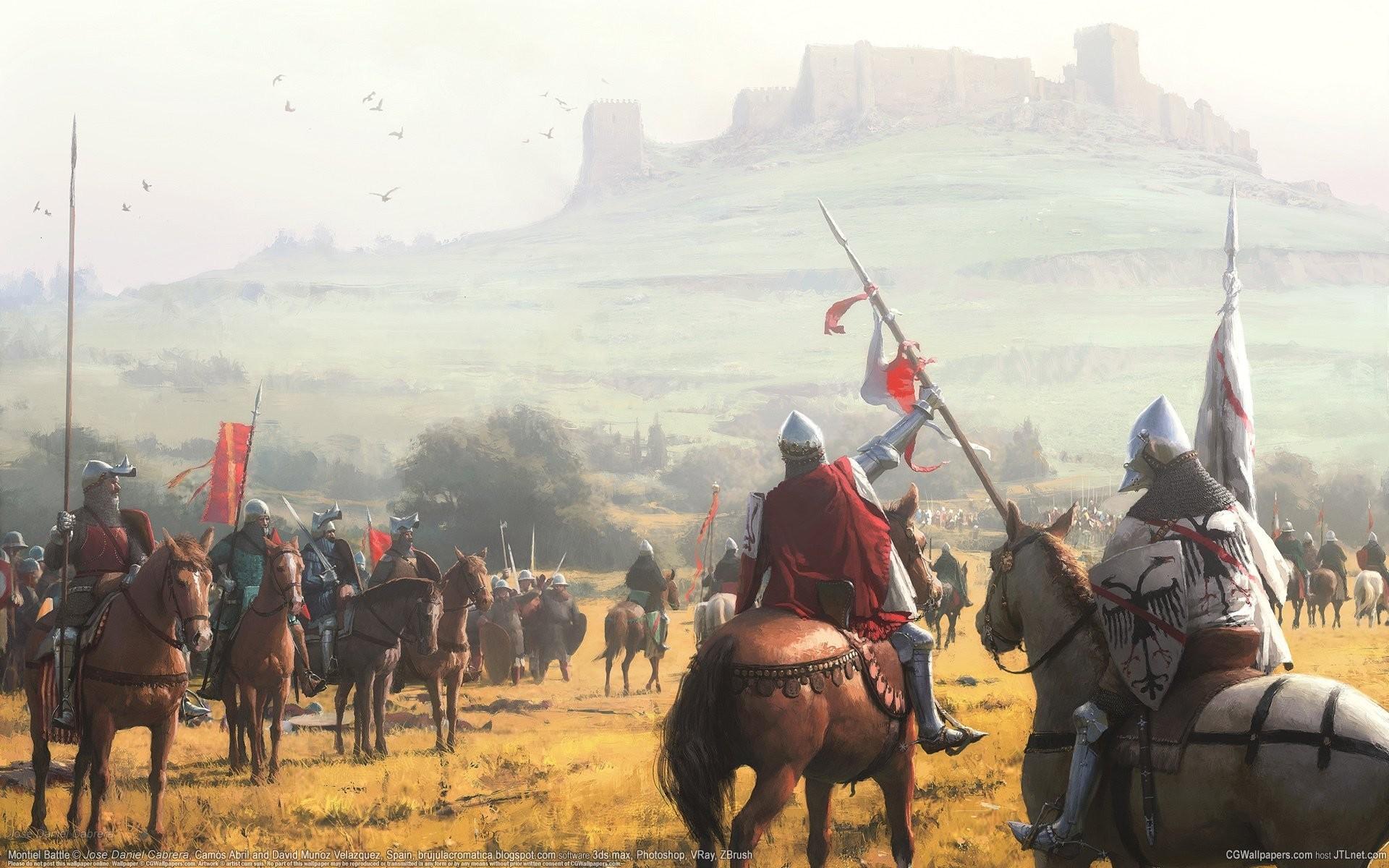 jose daniel cabrera montiel battle cg wallpapers middle ages castle knights  horses middle ages castle hill