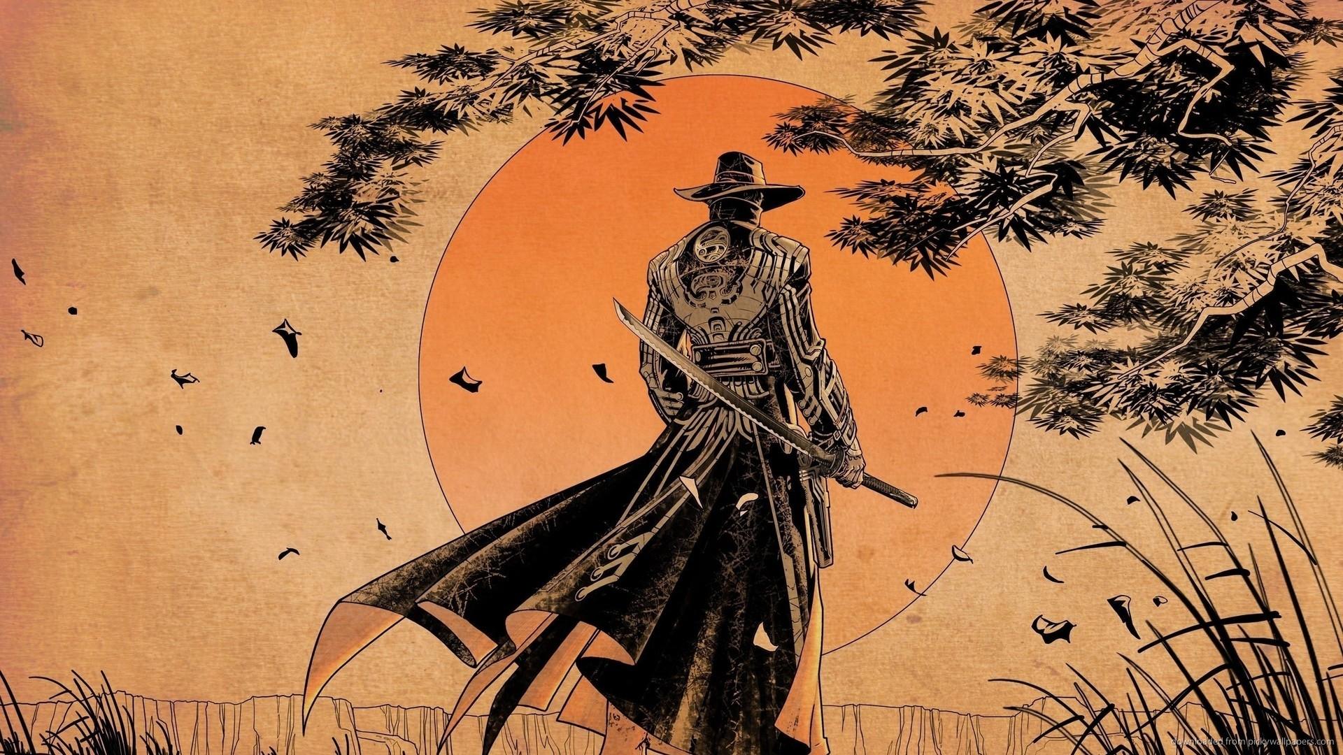Samurai Sunset art for 1920×1080