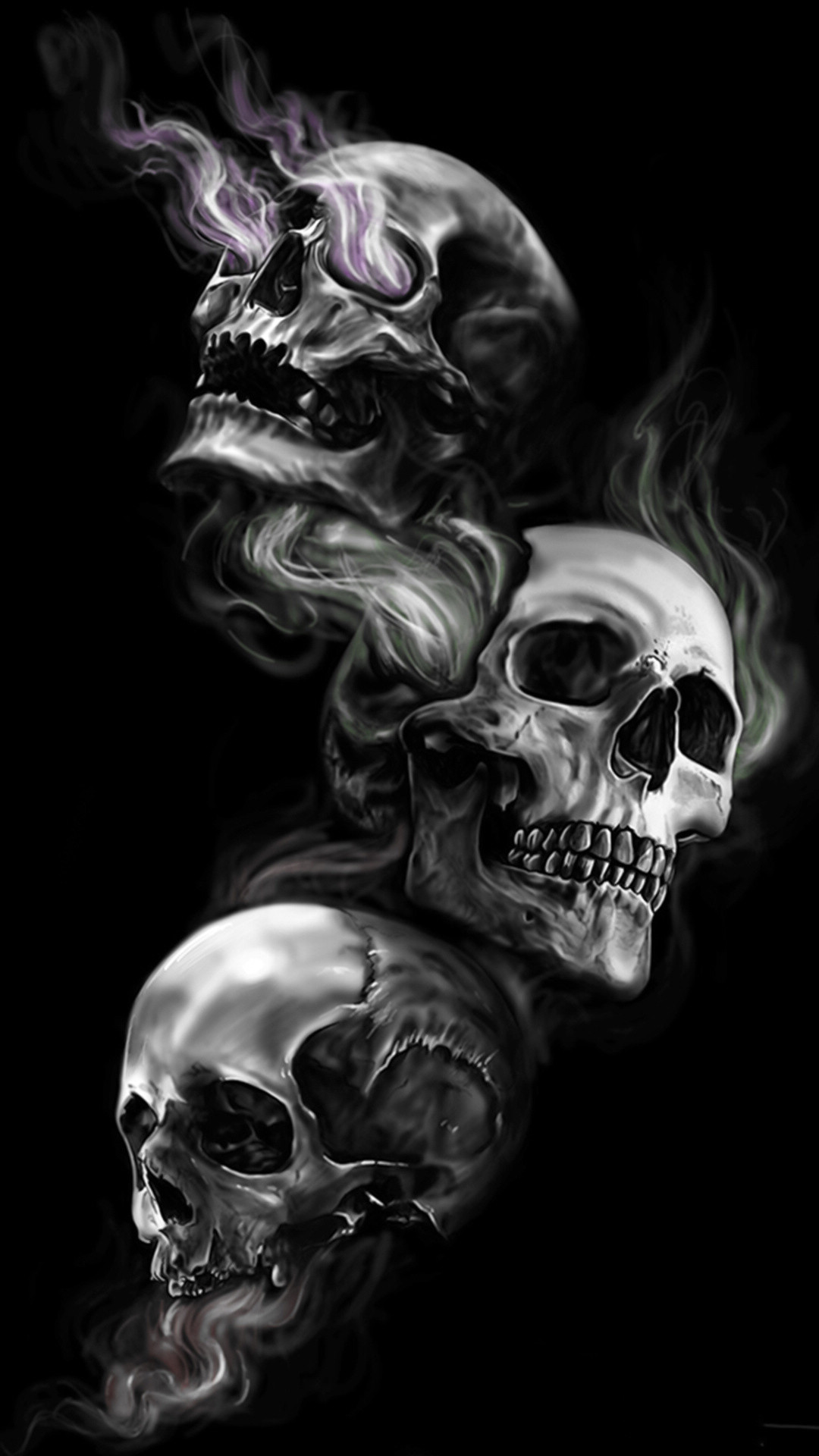 … Badass Wallpapers For Android 04 0f 40 Three Skulls on Dark Black  Background