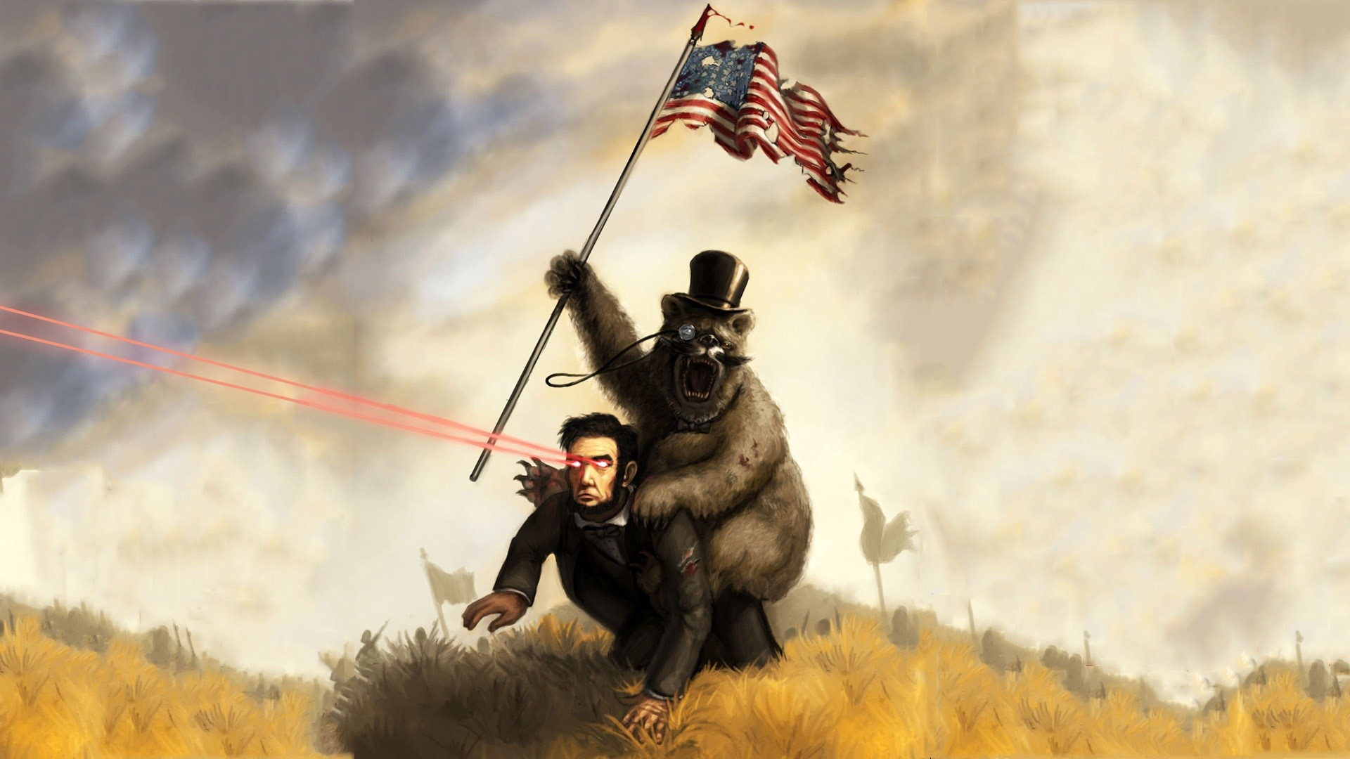 Abraham Lincoln being rode by the infamous anti-slavery bear