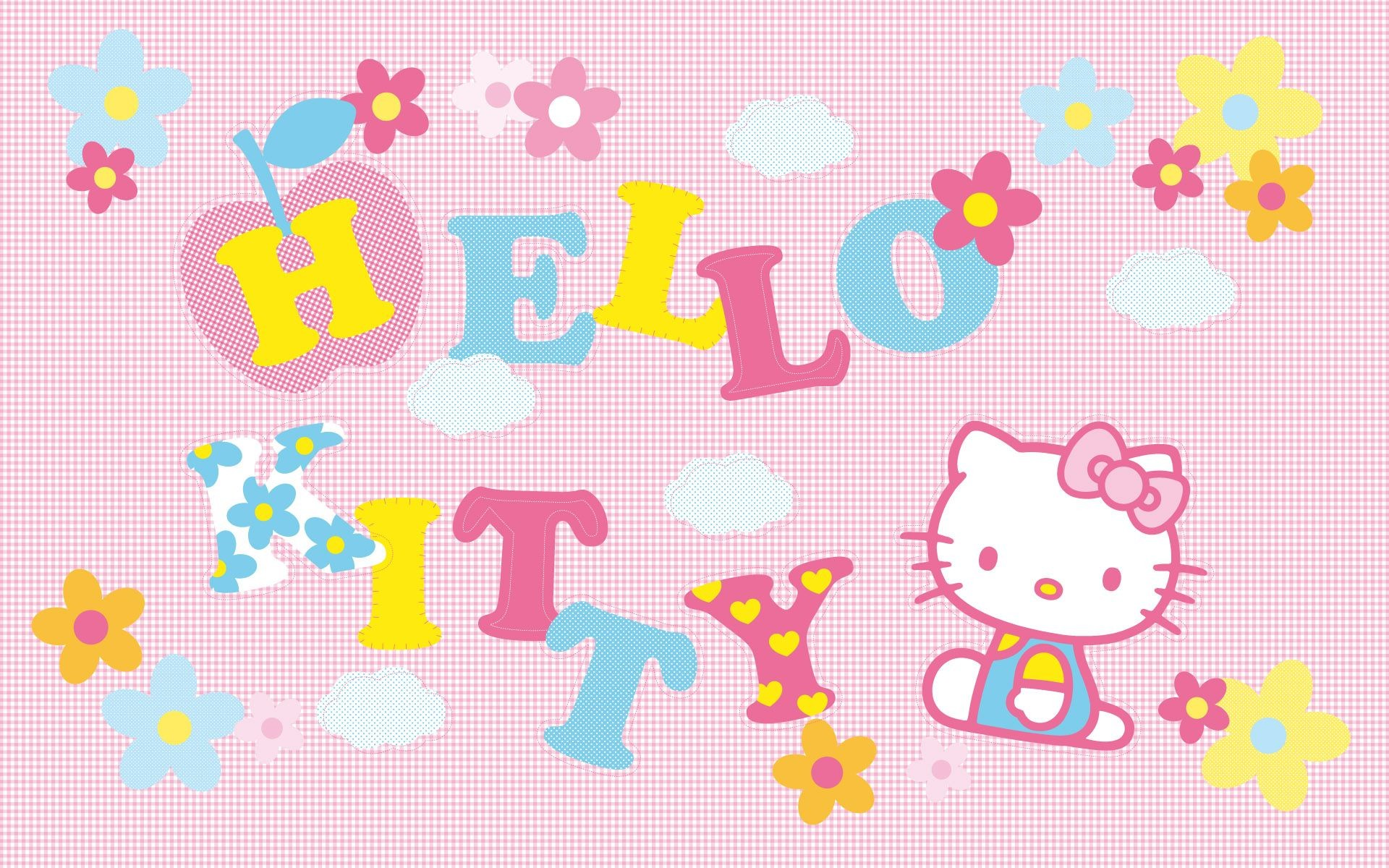 Cute Pink Patchwork Hello Kitty Wallpaper – Cute Wallpapers