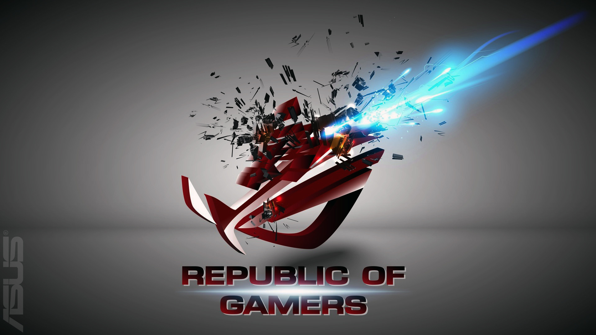 asus rog (republic of gamers) logo shattered explosion hd. .