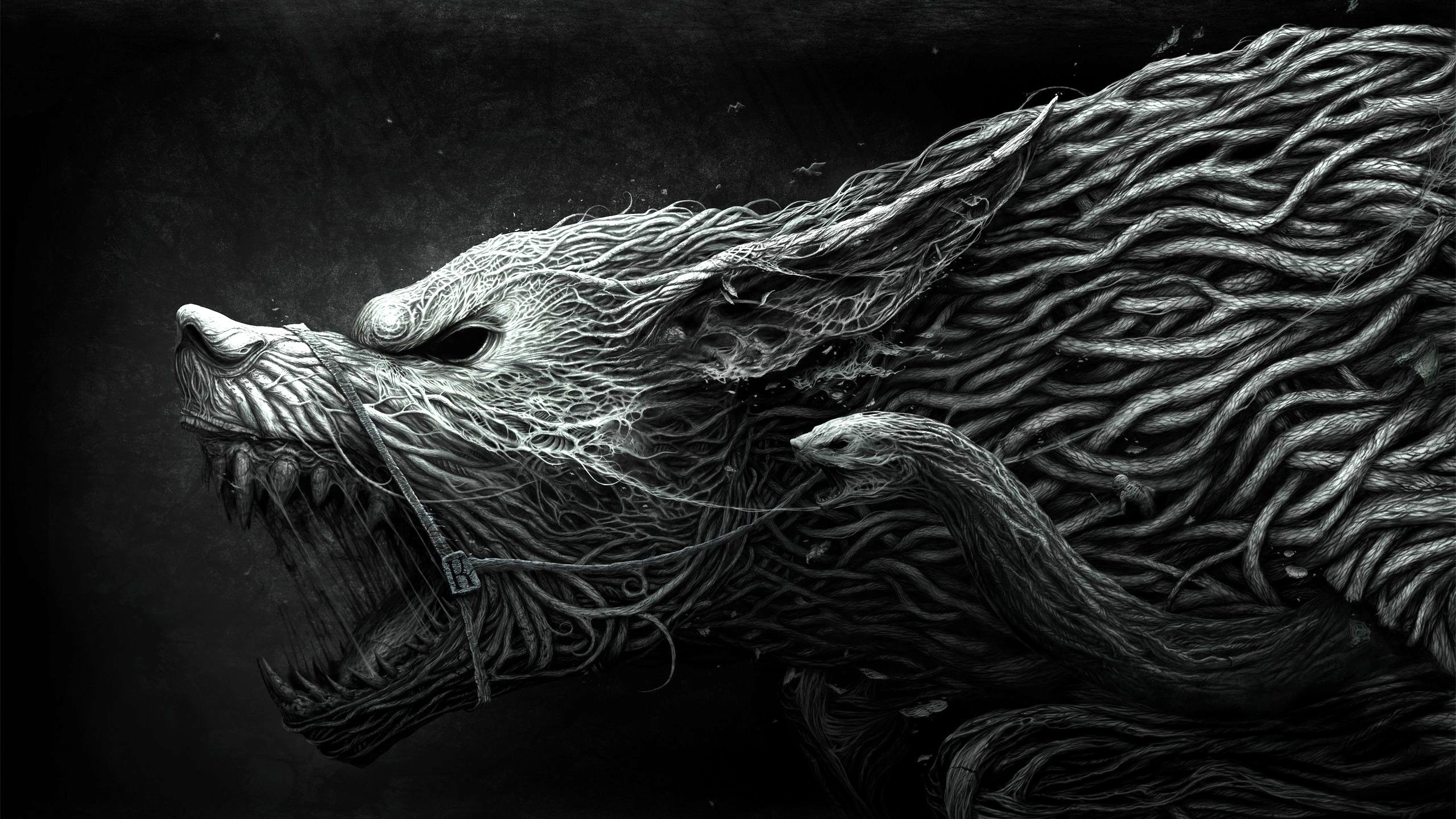 Preview wallpaper wolf, teeth, drawing, aggression, black, white 2560×1440