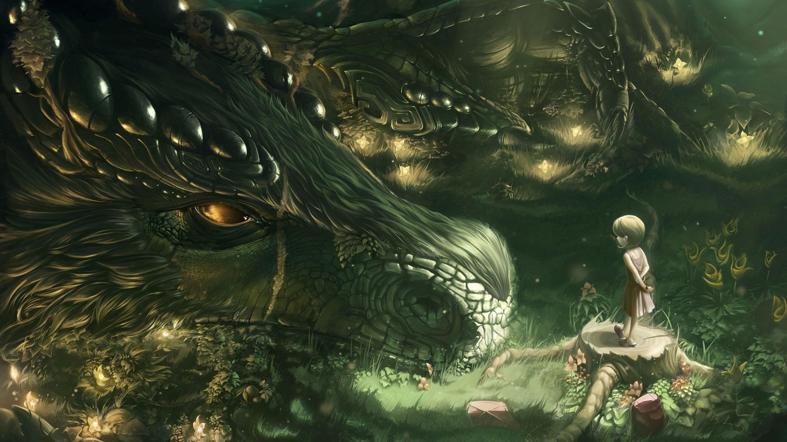 Preview wallpaper dragon, girl, forest, art 2560×1440
