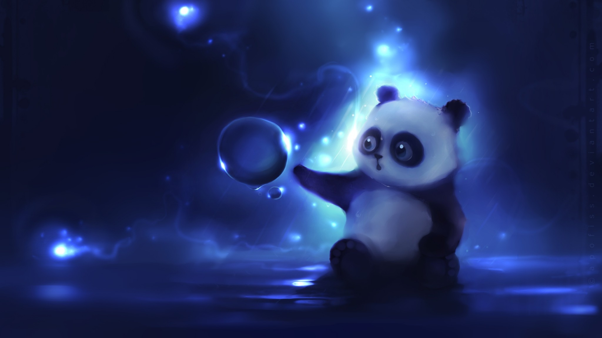Preview wallpaper panda, art, apofiss, night 2048×1152