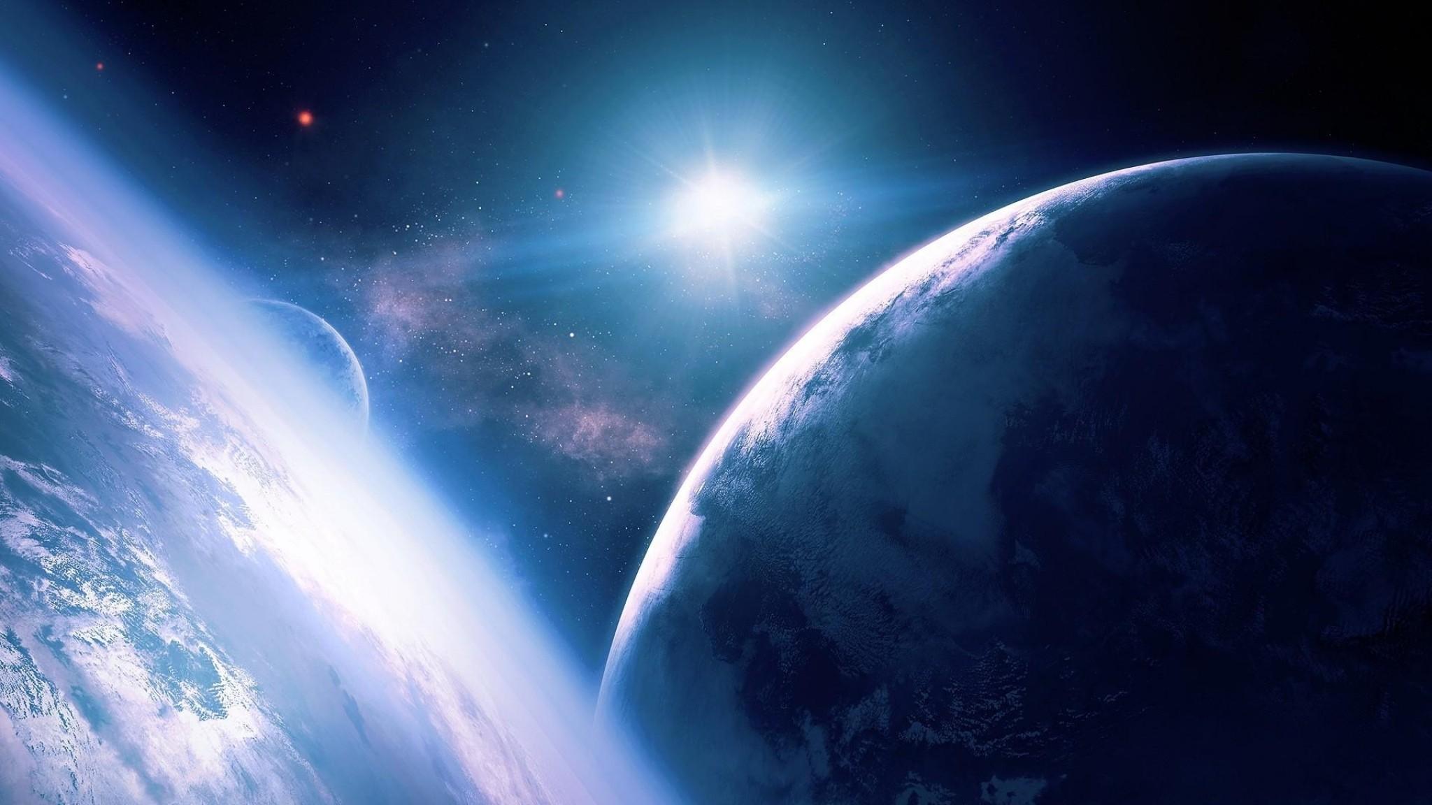 Wallpaper planets, stars, rays, galaxy