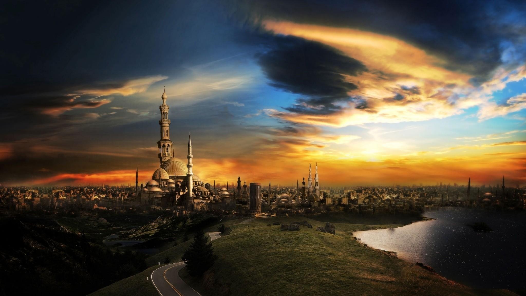 Wallpaper islam, mosque, city, sunset