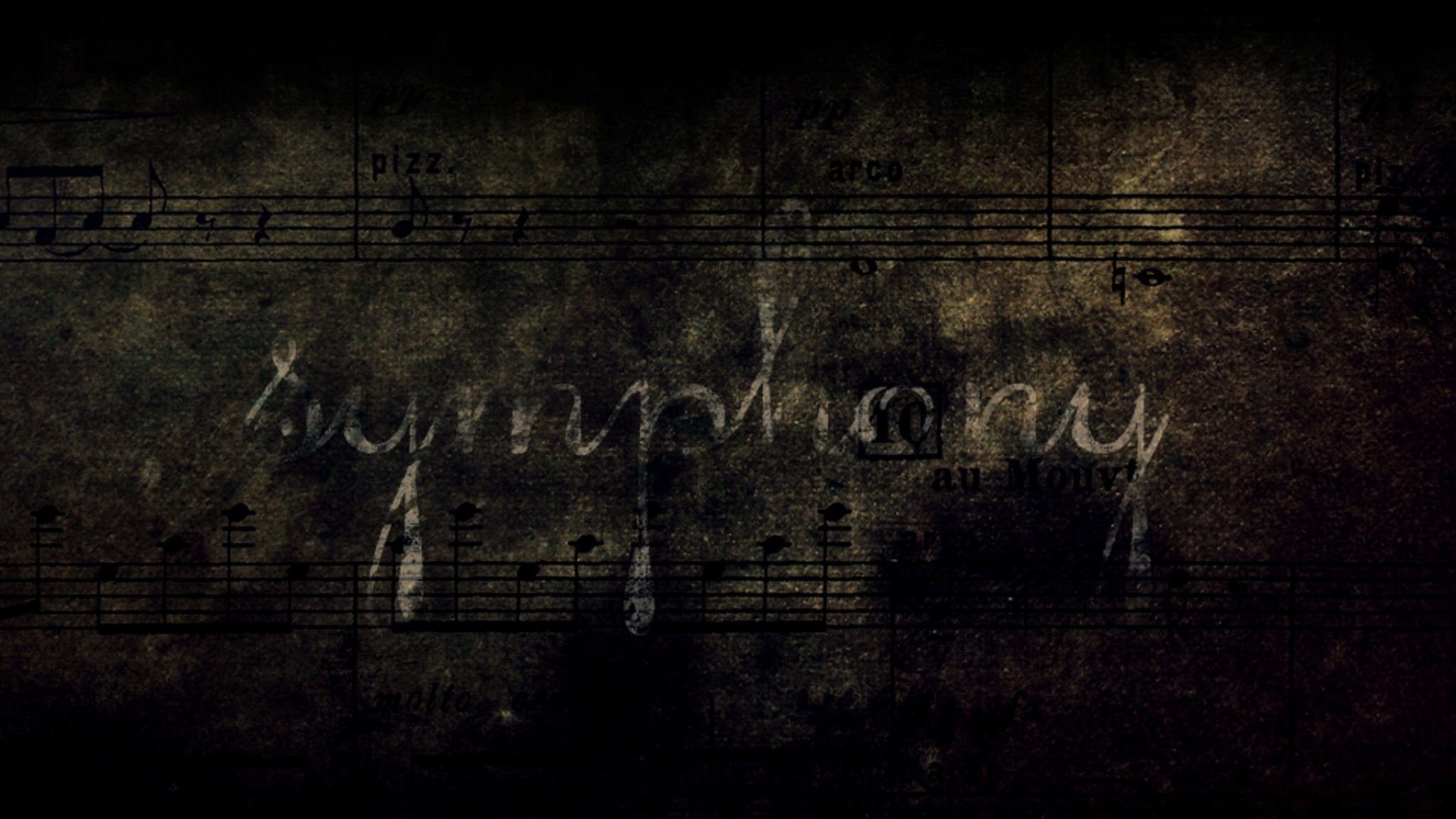 Preview wallpaper notes, symphony, grunge, lettering, background, shadow  2048×1152