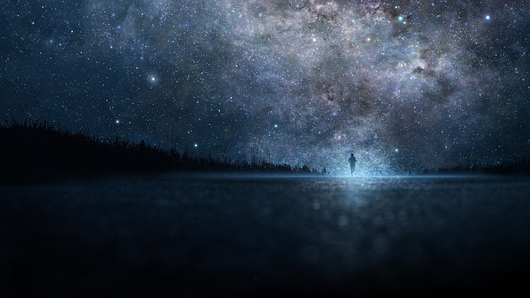 Preview wallpaper star, art, sky, night, people, silhouette 2048×1152