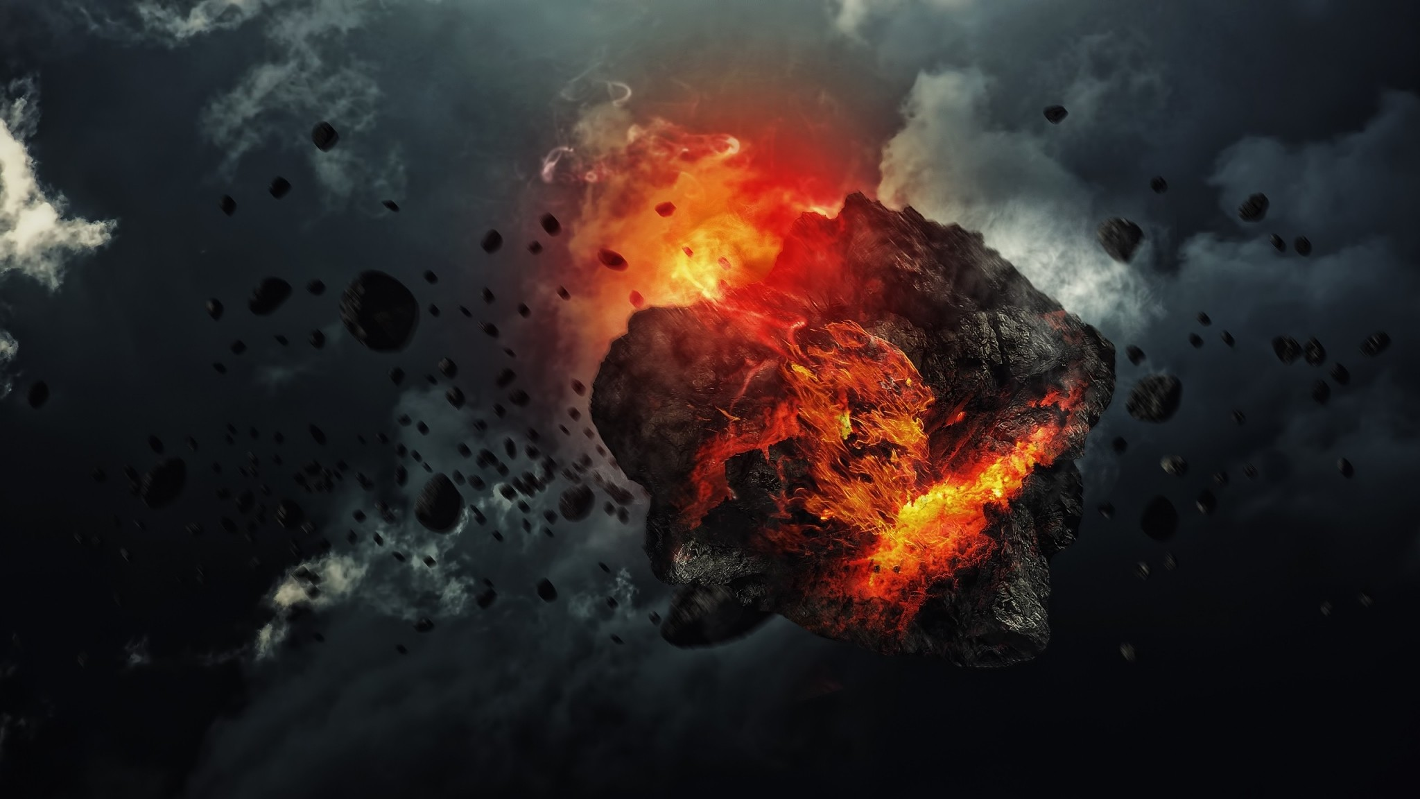 Wallpaper sky, clouds, dark, explosion, fire