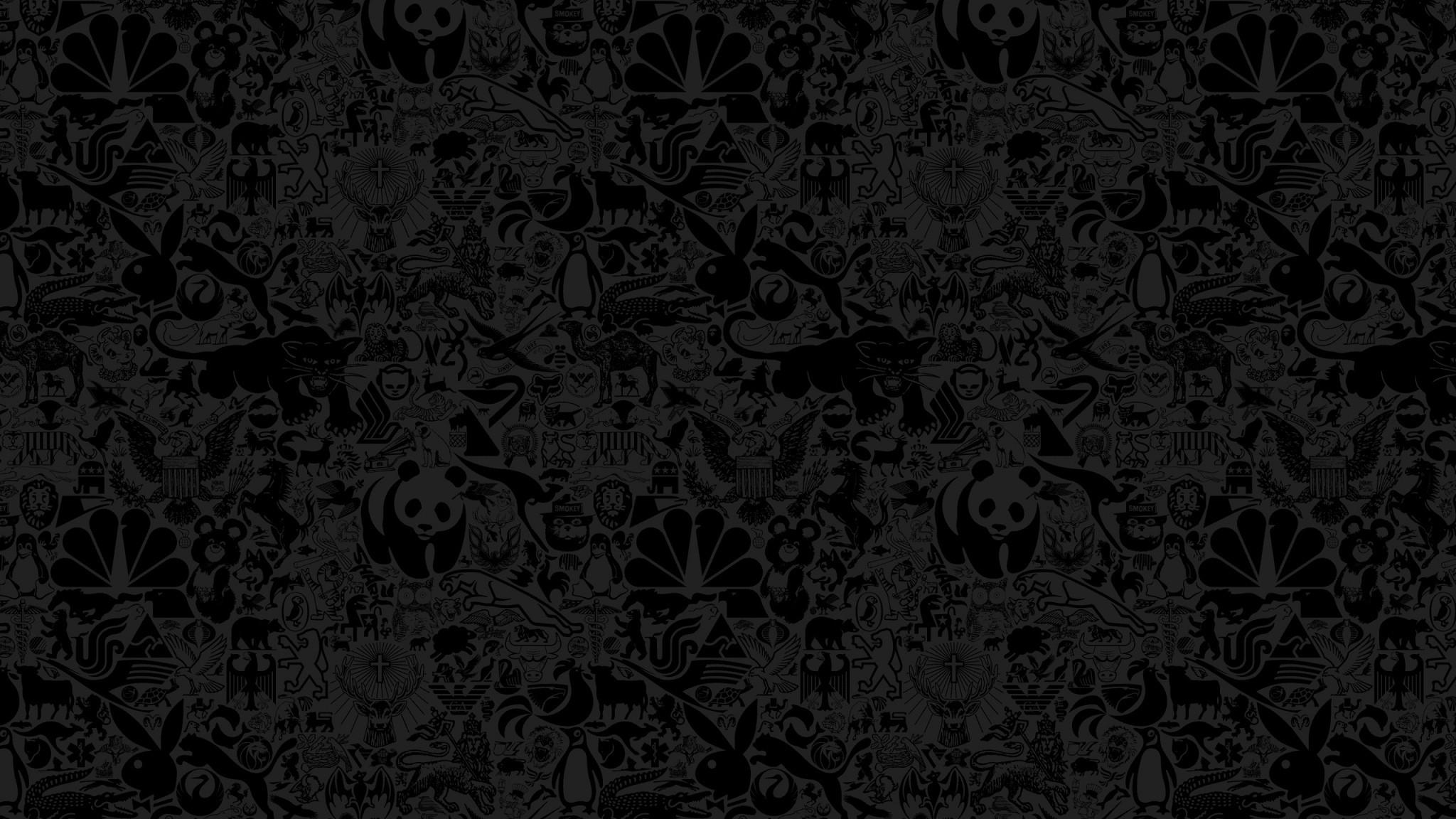 Wallpaper animals, drawing, black, wall