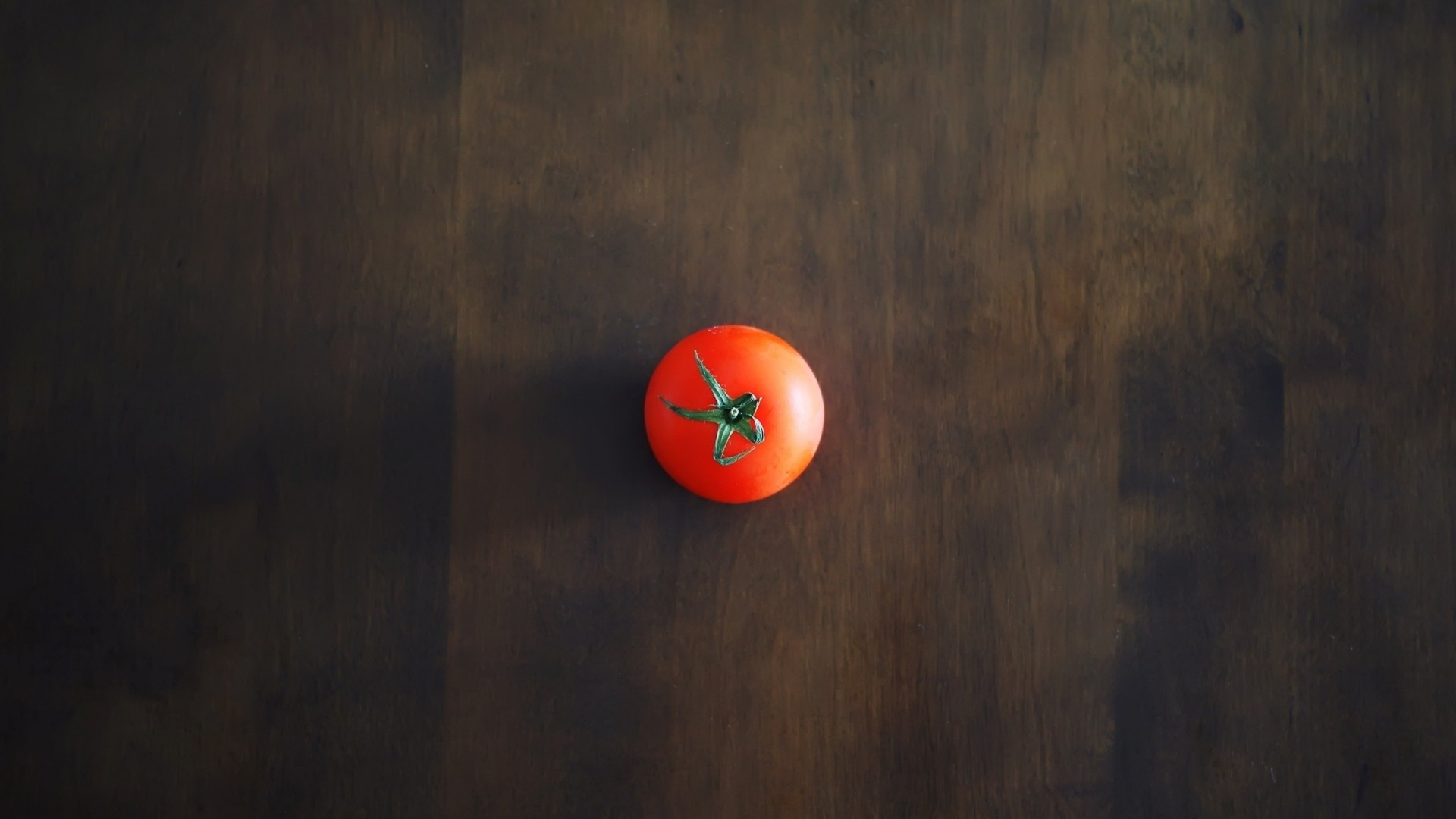 Preview wallpaper minimalism, tomato, red, table, wall, shadow, background  1920×1080