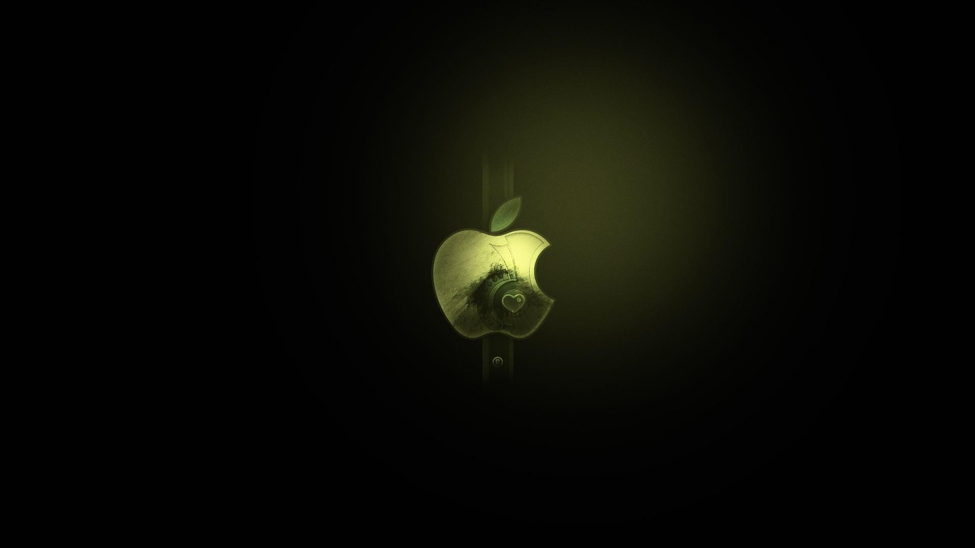 Wallpaper logo, black, white, apple, mac, minimalist