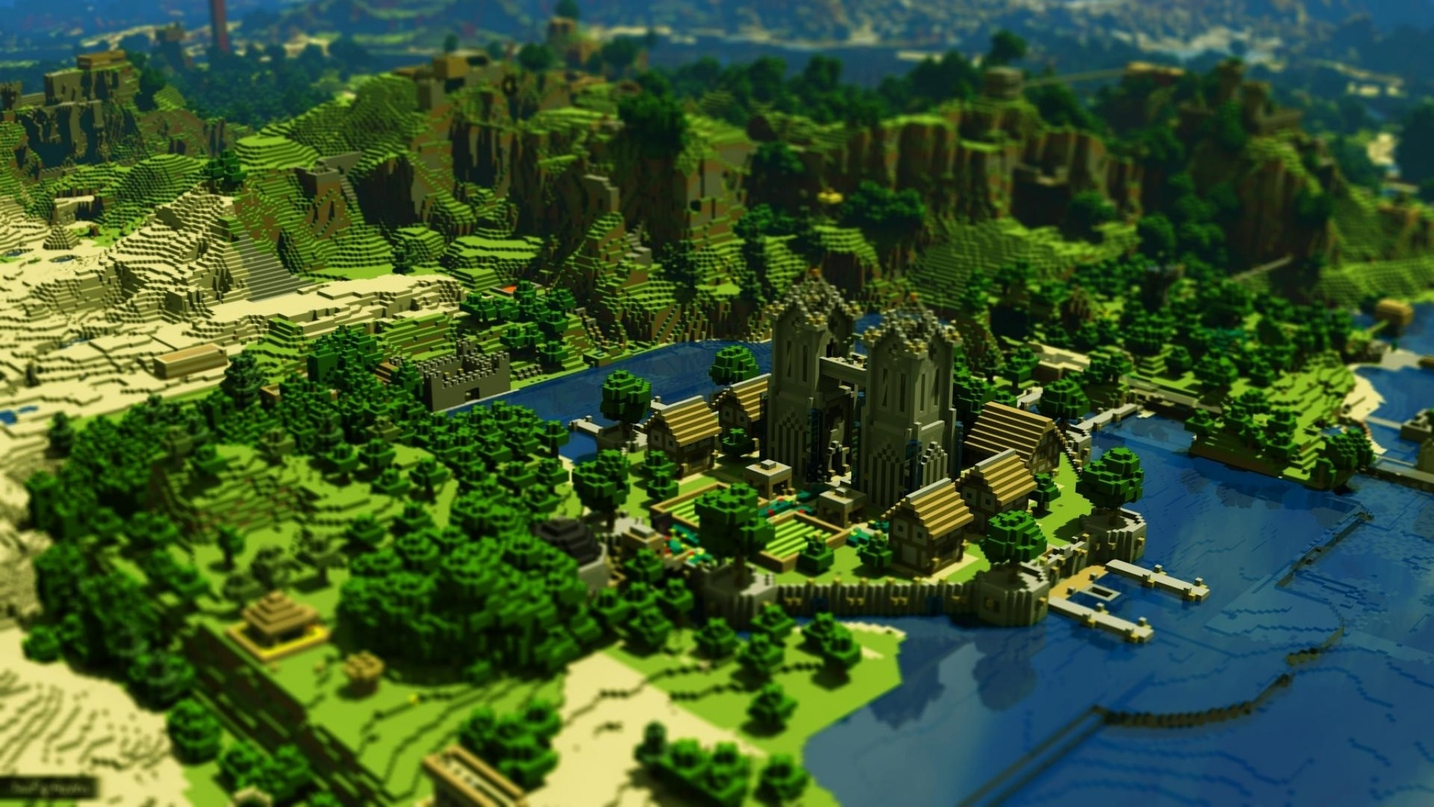 Preview wallpaper minecraft, trees, houses, mountains, water 2048×1152