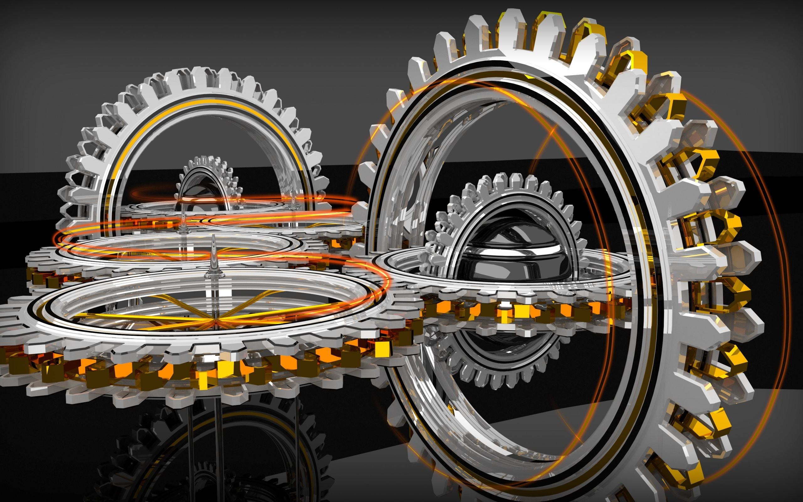 4K HD Wallpaper 3: Abstract 3D Concentric Gears