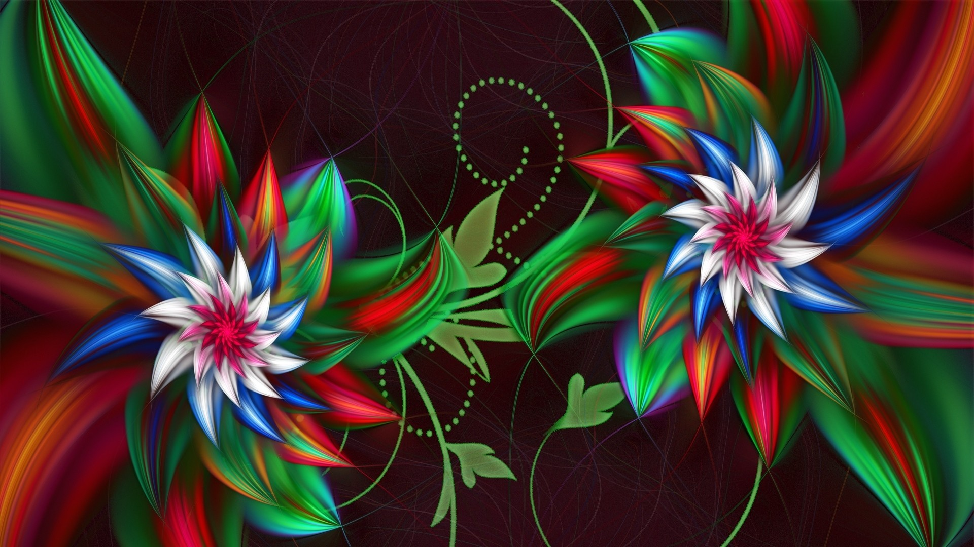 Preview wallpaper 3d, abstract, fractal, flowers 1920×1080