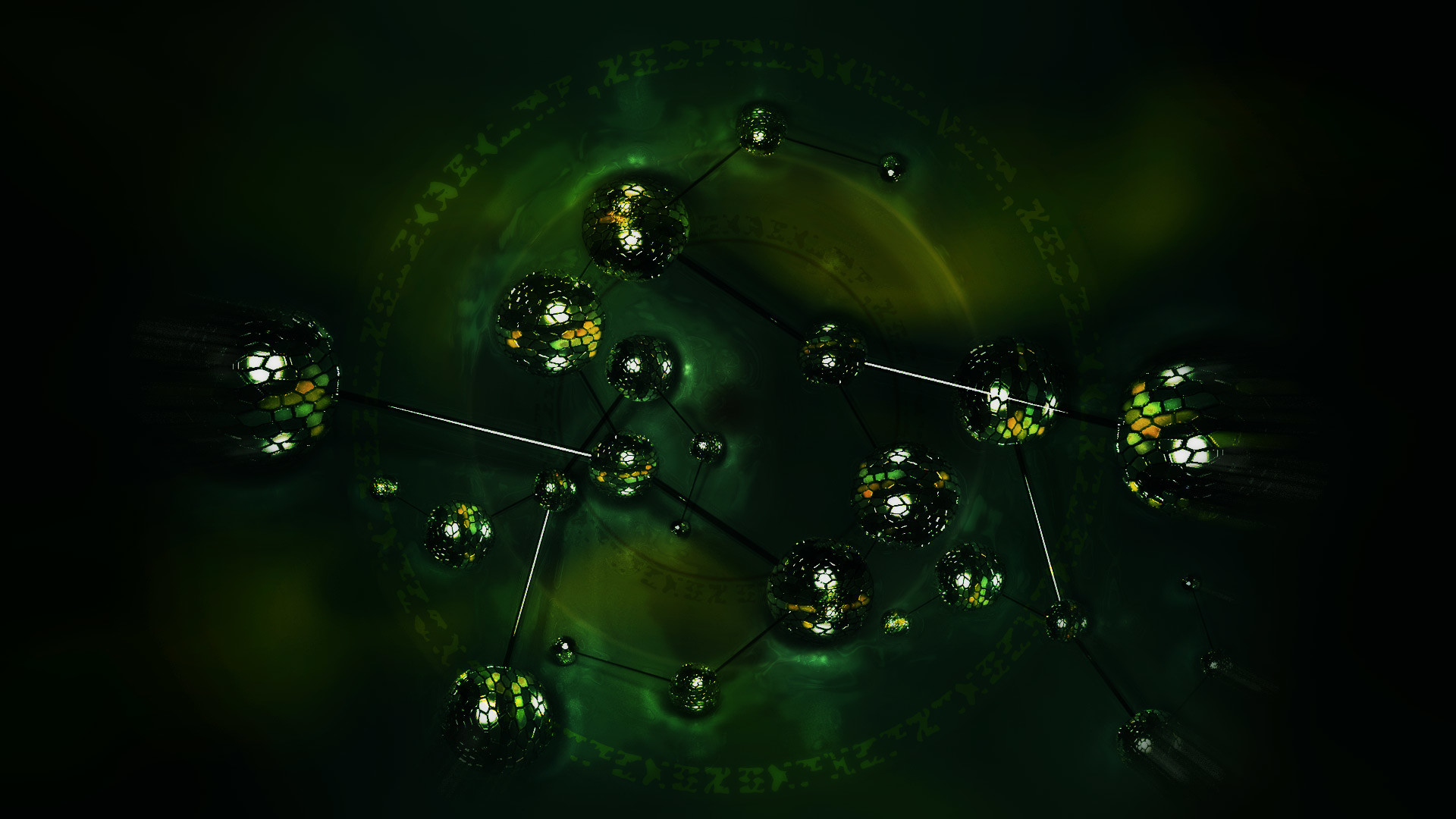 Darkflame (2013); HD chrome 3D molecules cosmos abstract wallpaper 1920×1080