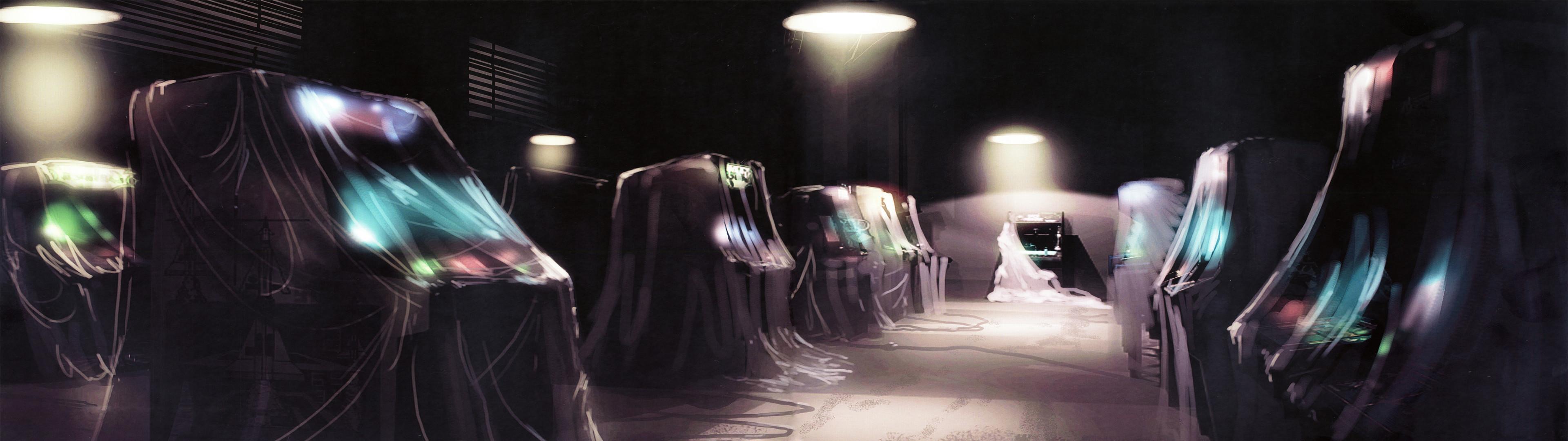 General dual monitors multiple display arcade arcade cabinet  artwork Tron: Legacy lights