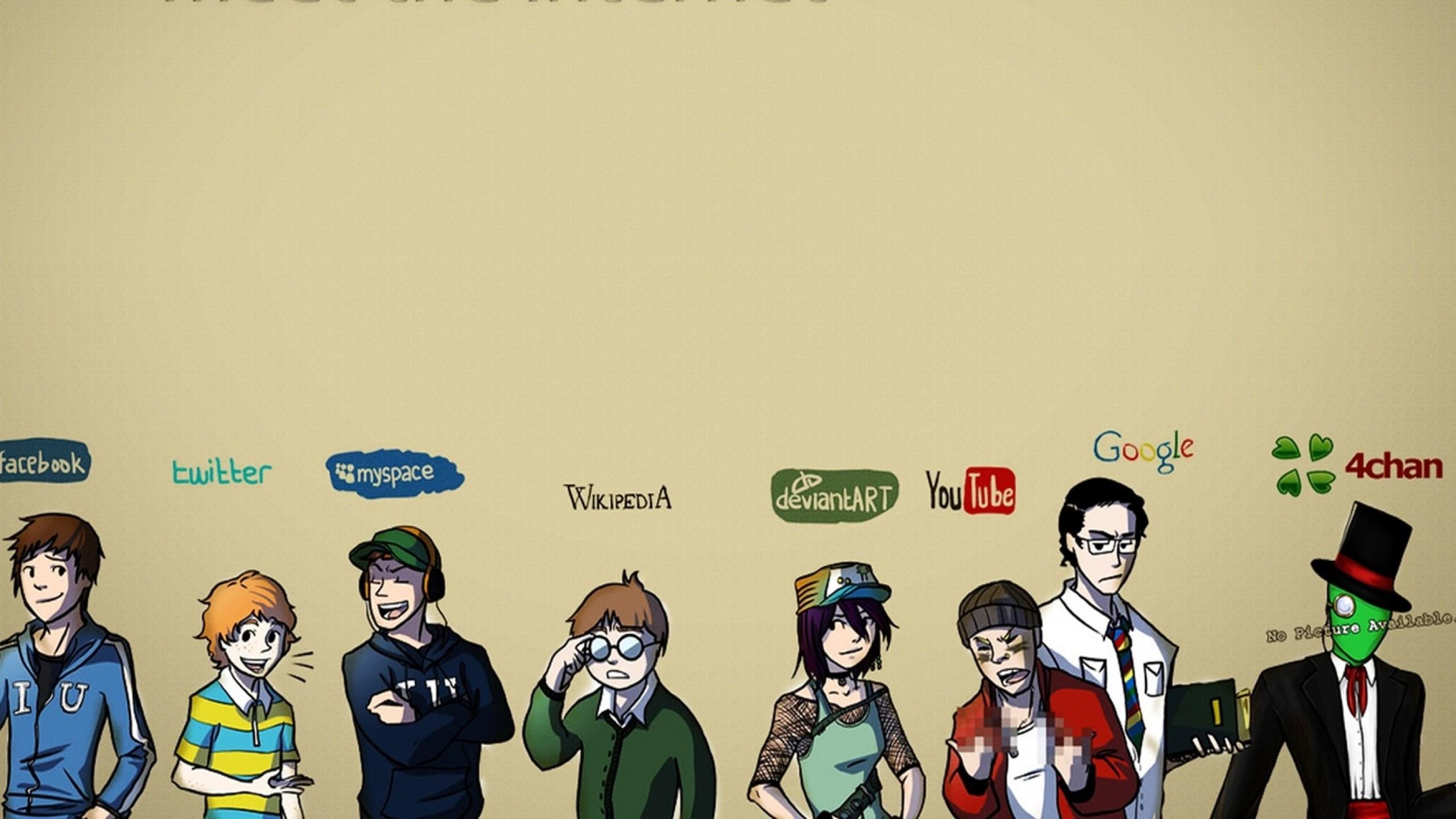 Preview wallpaper internet, facebook, twitter, myspace, wikipedia,  deviantart, youtube,