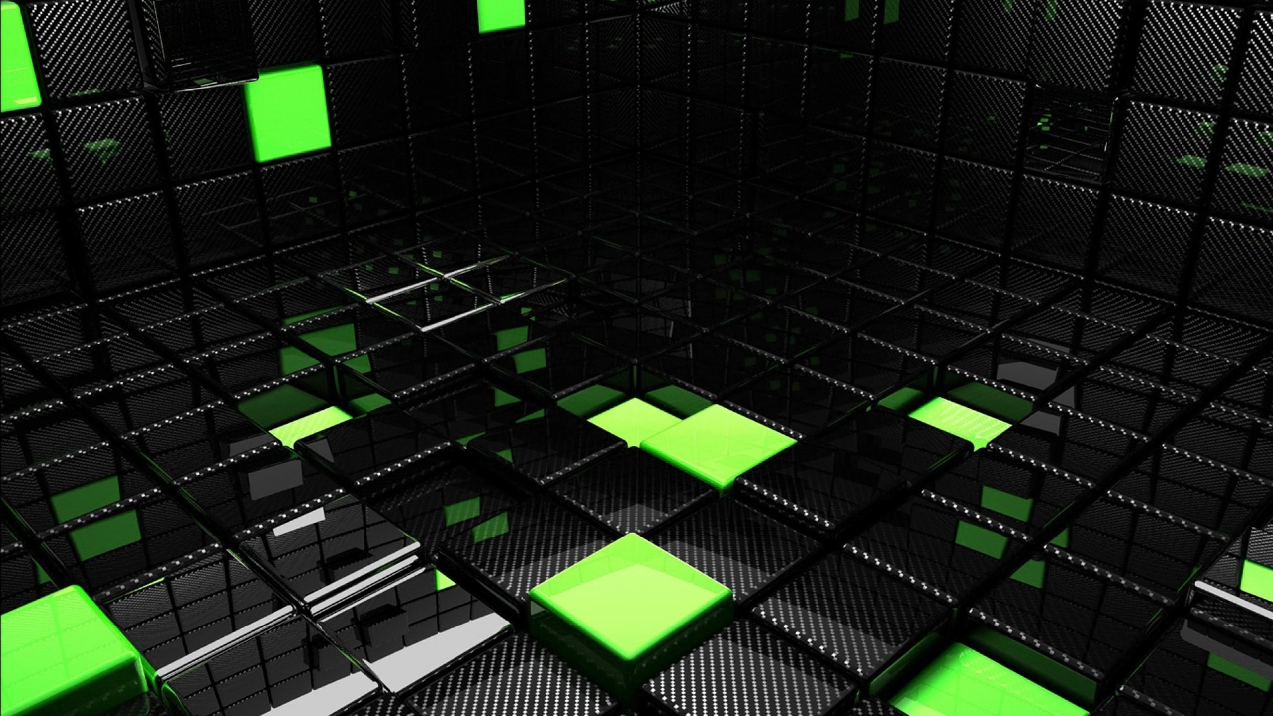 Wallpaper cube, square, green, black, space