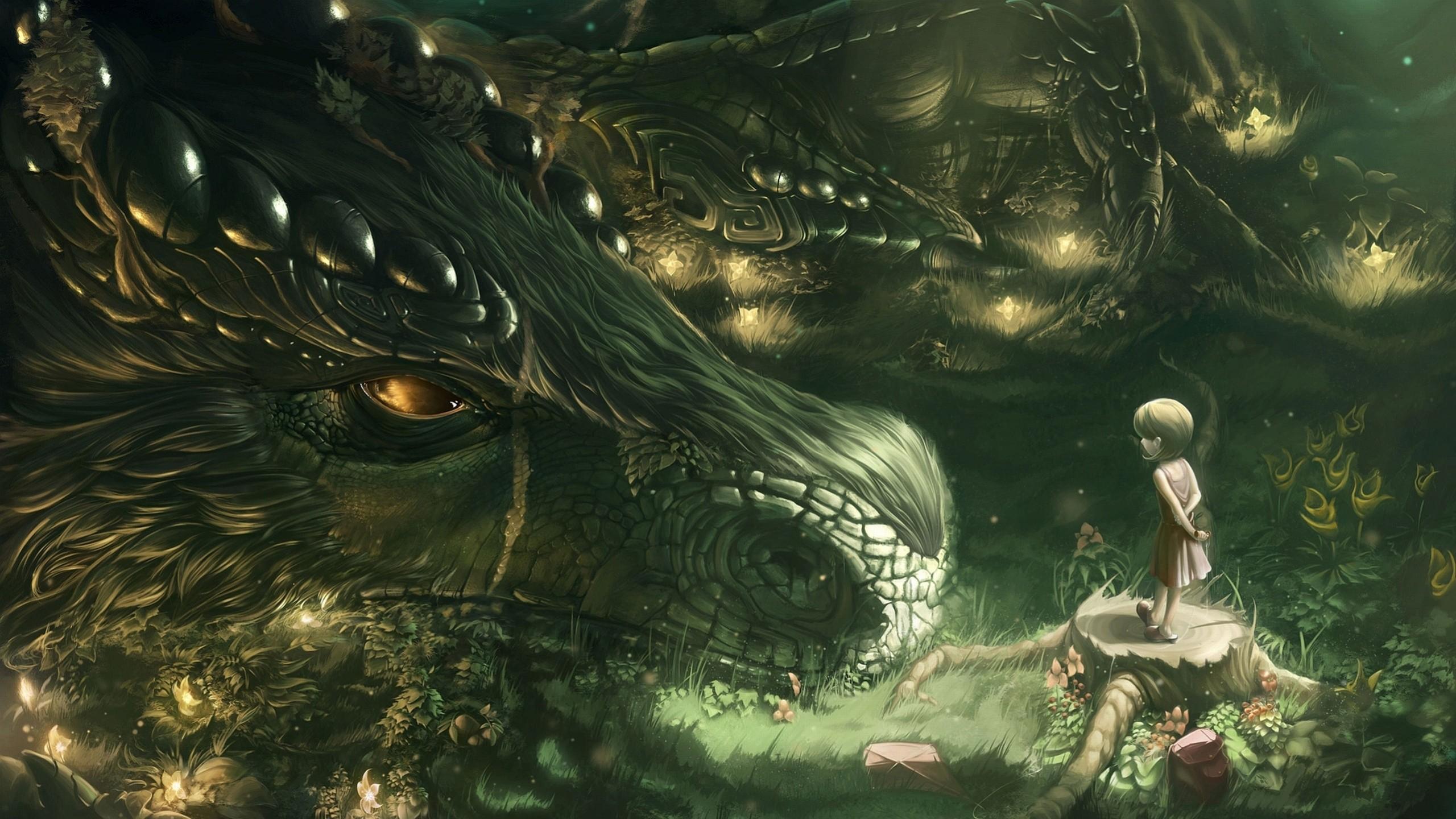 Wallpaper dragon, girl, forest, art