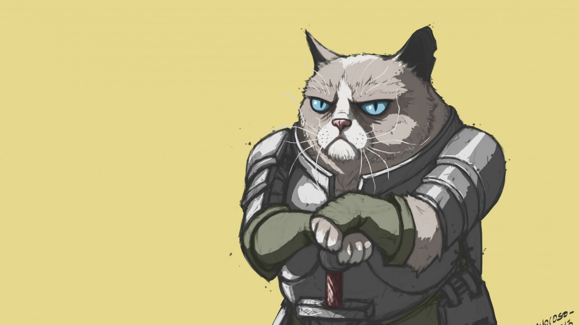 Preview wallpaper grumpy cat, armor, meme, popular 1920×1080