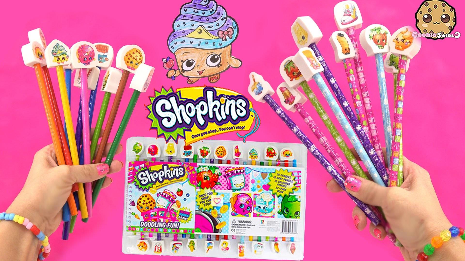 Shopkins Doodling Fun Art Color Book Coloring Pencils Erasers Set Unboxing  Video Cookieswirlc Youtube. make …