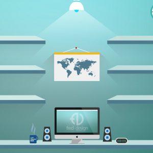 Desk and Shelves Desktop