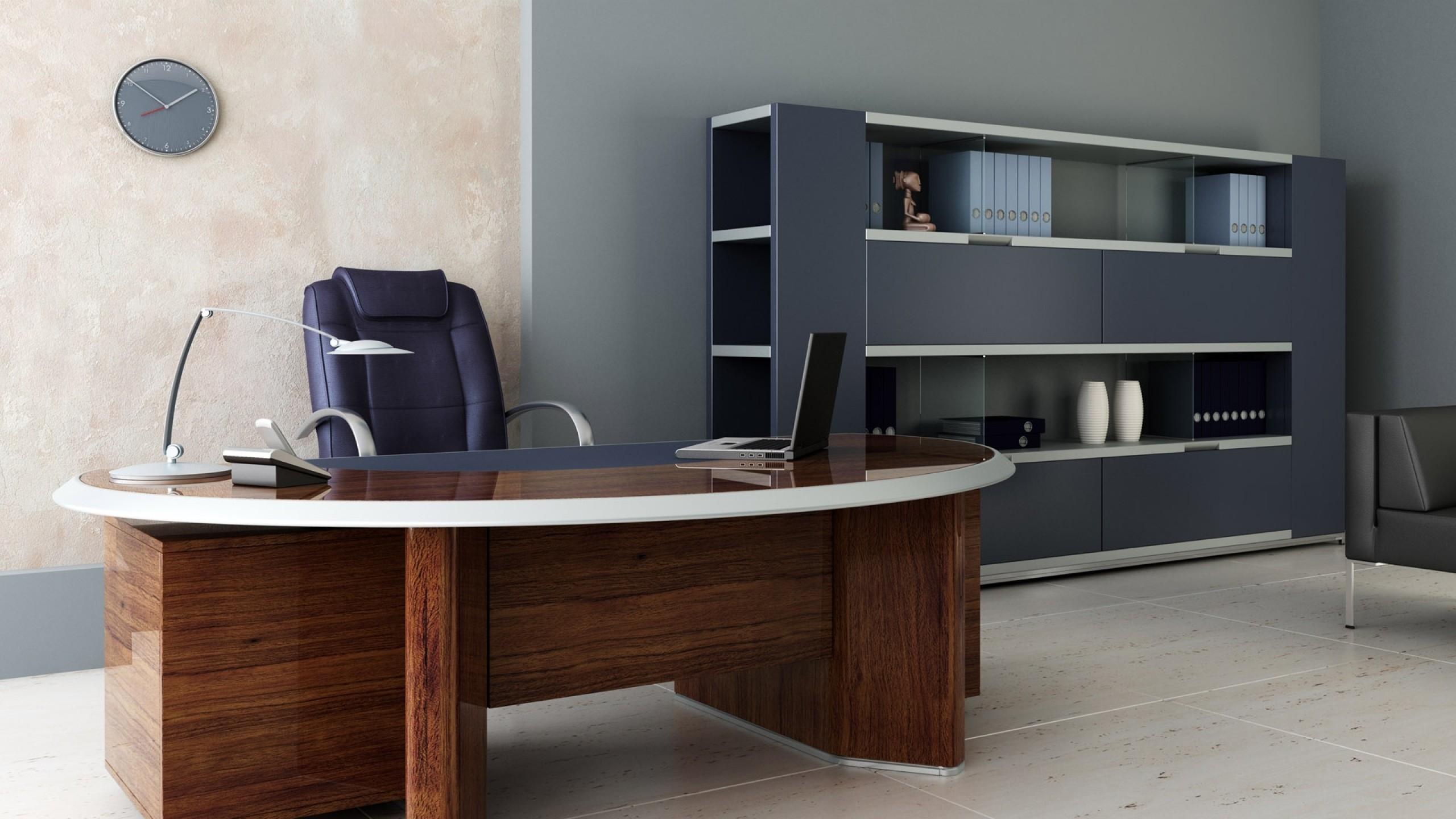Wallpaper room, office, desk, chair, shelves