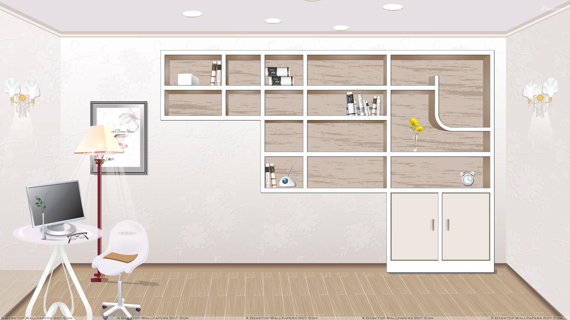 Dark bookcase, office desktop shelves wallpaper clever office .
